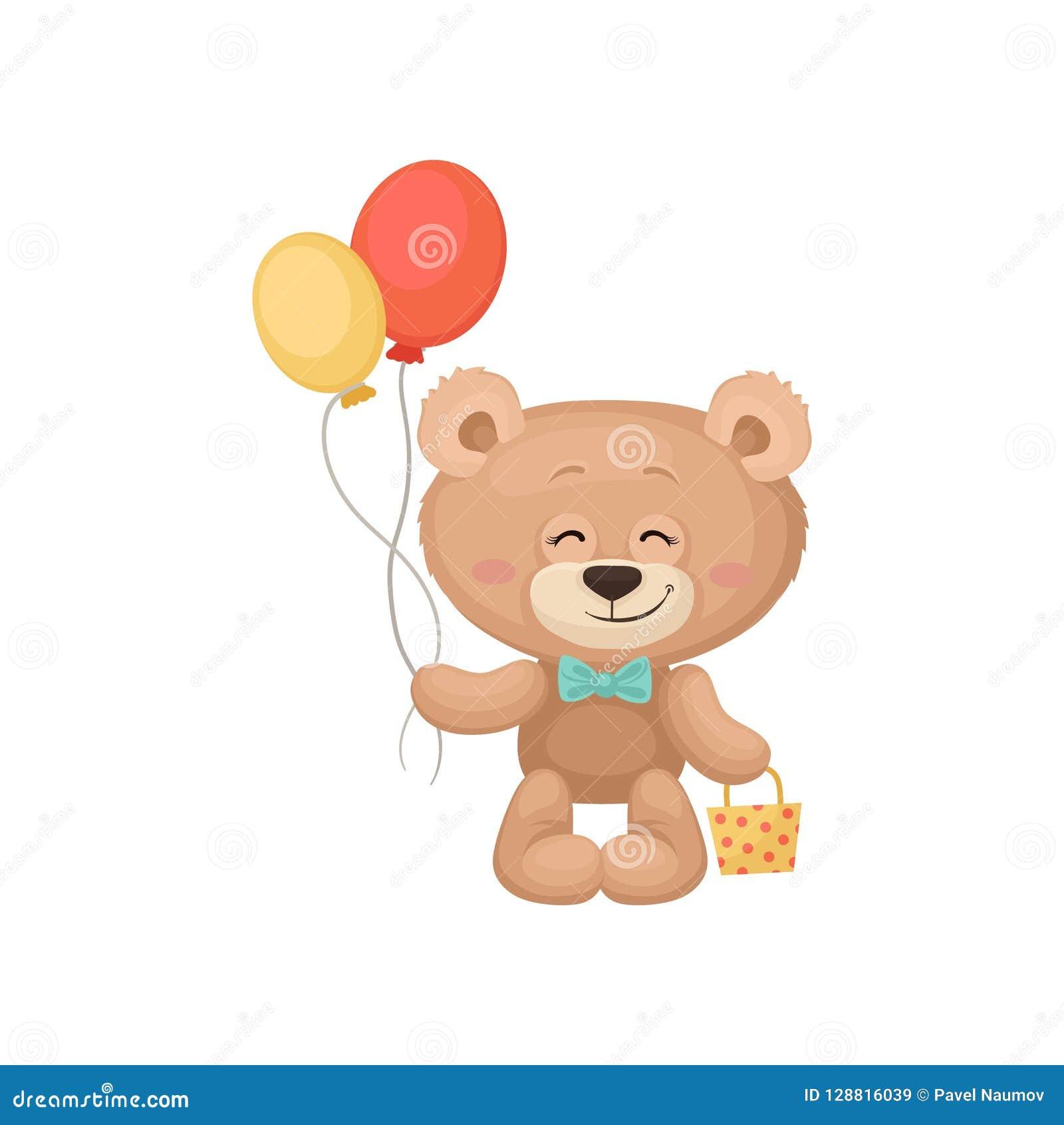 Το χαμόγελο teddy αντέχει τα μπαλόνια κρατήματος και λίγη τσάντα Λατρευτό παιχνίδι βελούδου Επίπεδο διάνυσμα για τη ευχετήρια κάρ