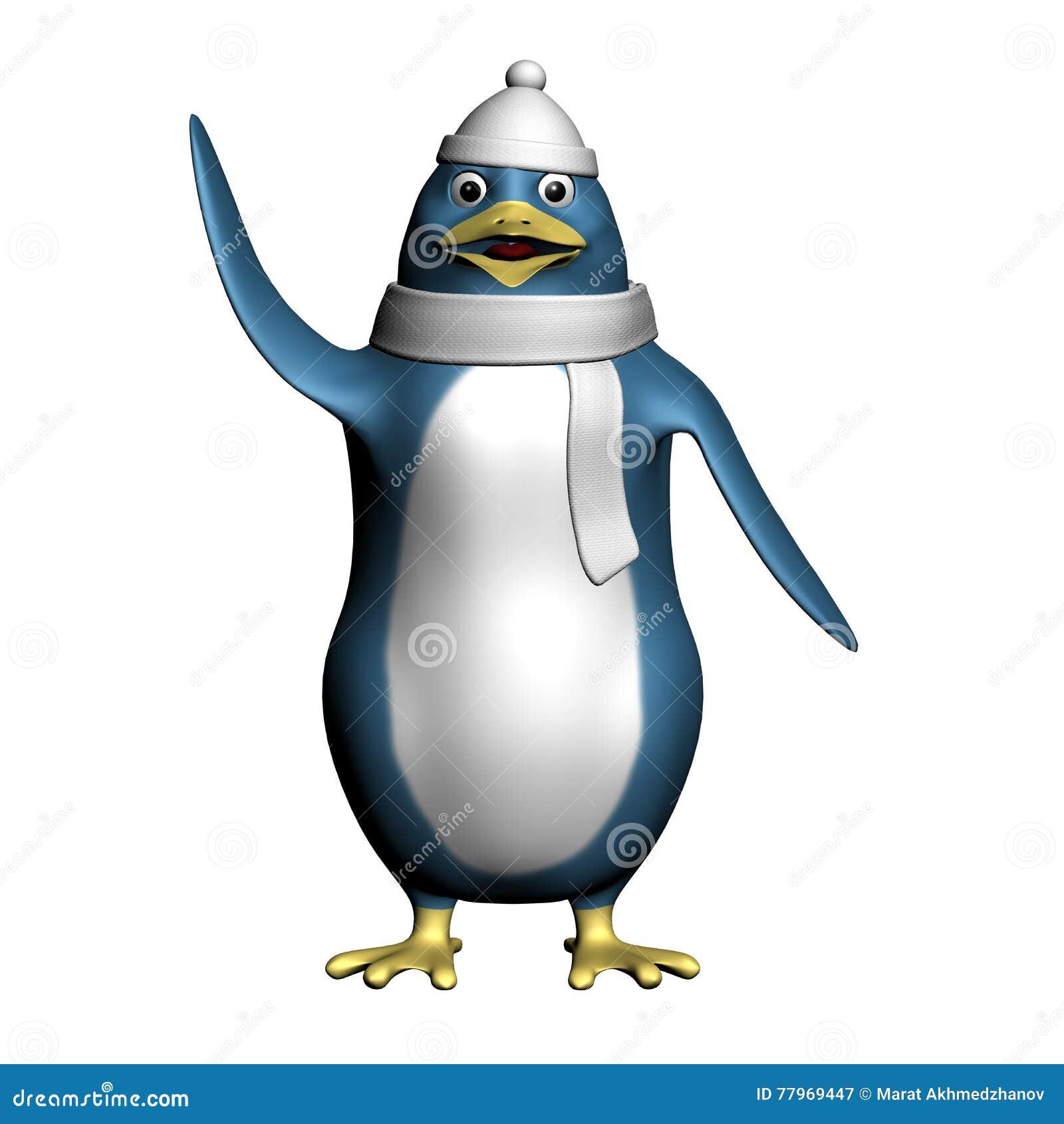 Το χαριτωμένο ευτυχές penguin σε μια άσπρη τρισδιάστατη απεικόνιση χεριών καπέλων και μαντίλι κυματίζοντας δίνει
