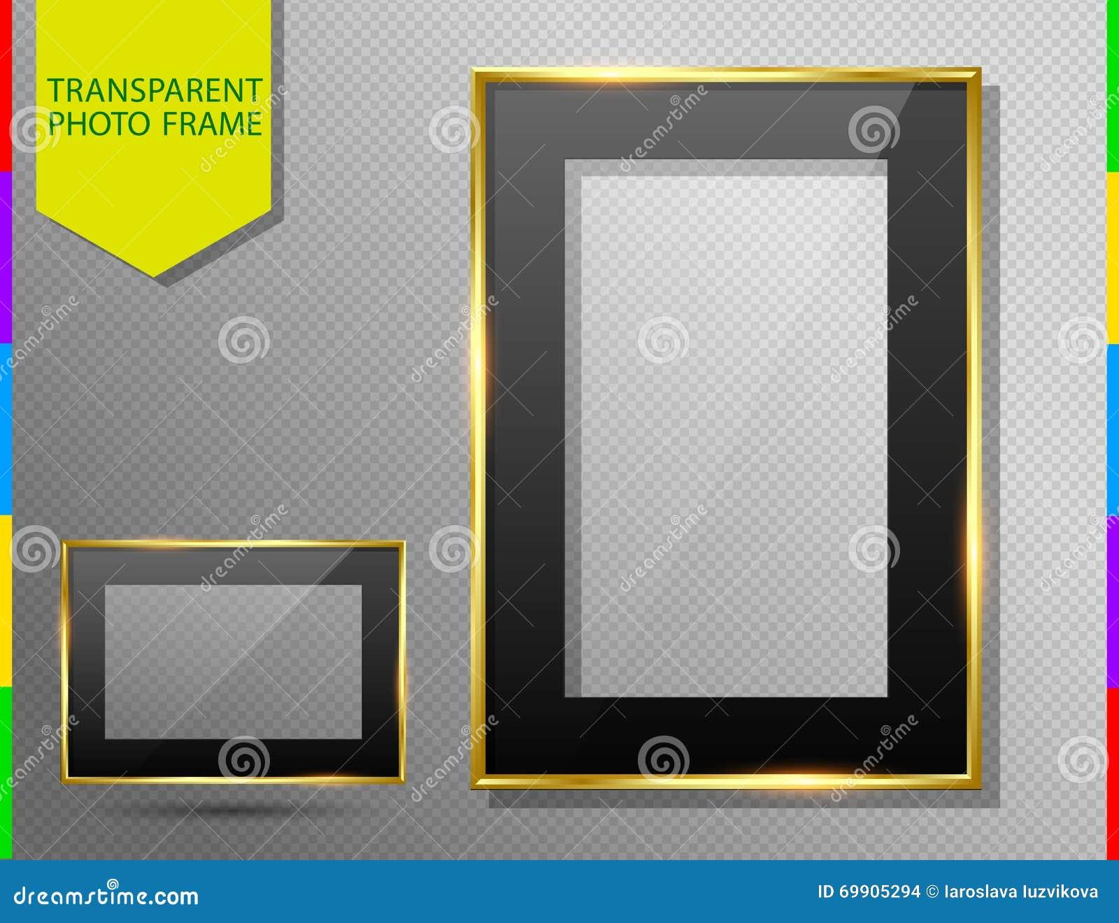 Το χρυσό πλαίσιο φωτογραφιών με το Μαύρο τοποθετεί, διαφανείς γυαλί και σκιά