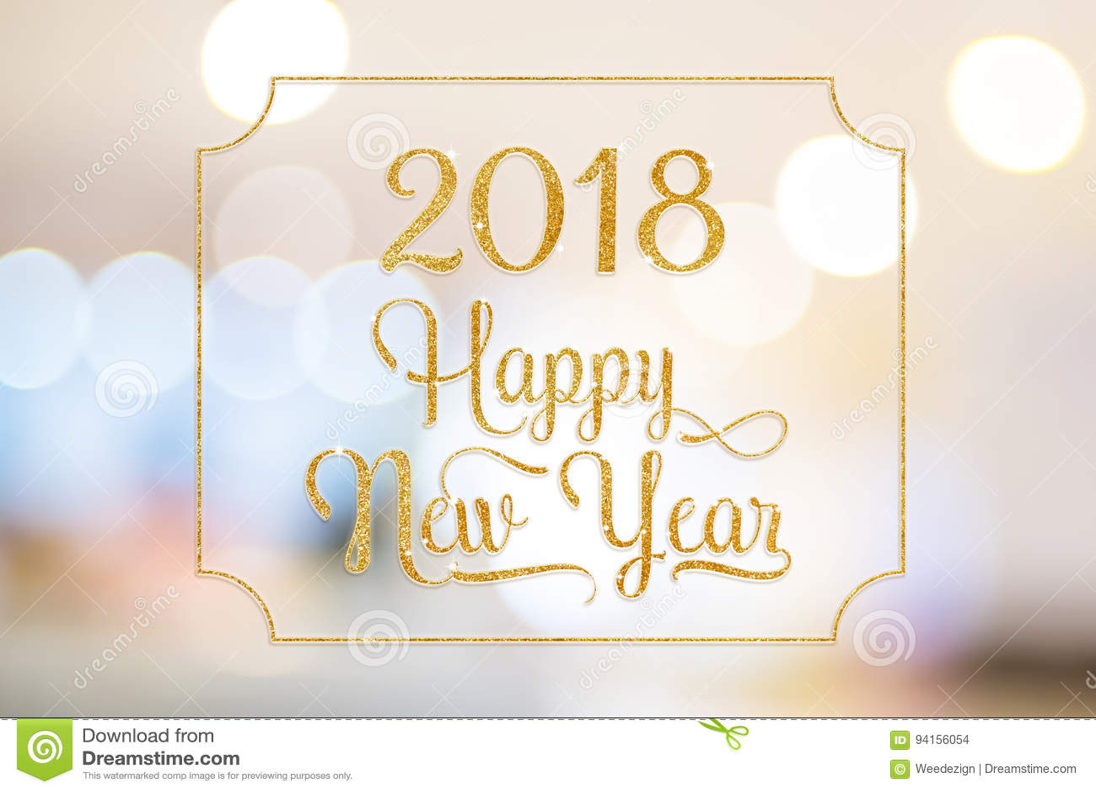 Το χρυσό σπινθήρισμα καλής χρονιάς το 2018 ακτινοβολεί λέξη με το χρυσό fram