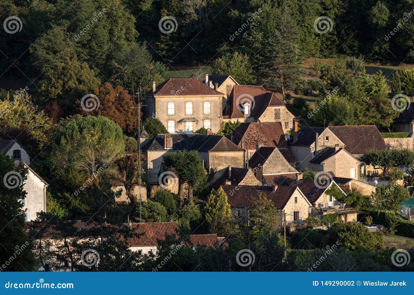 Το χωριό Carlux στην κοιλάδα Dordogne, Aquitaine,