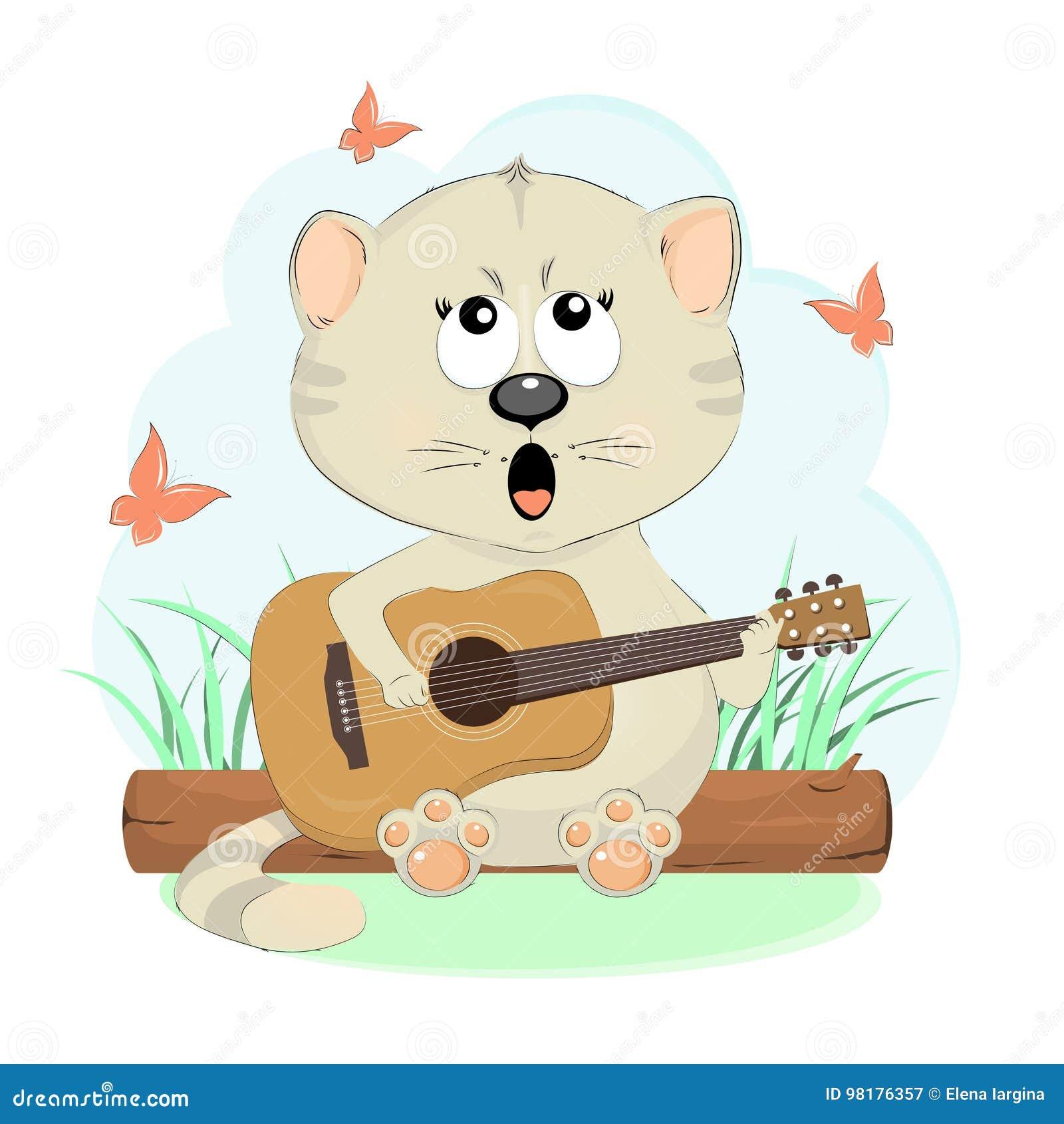 Το όμορφο γατάκι τραγουδά μια κιθάρα