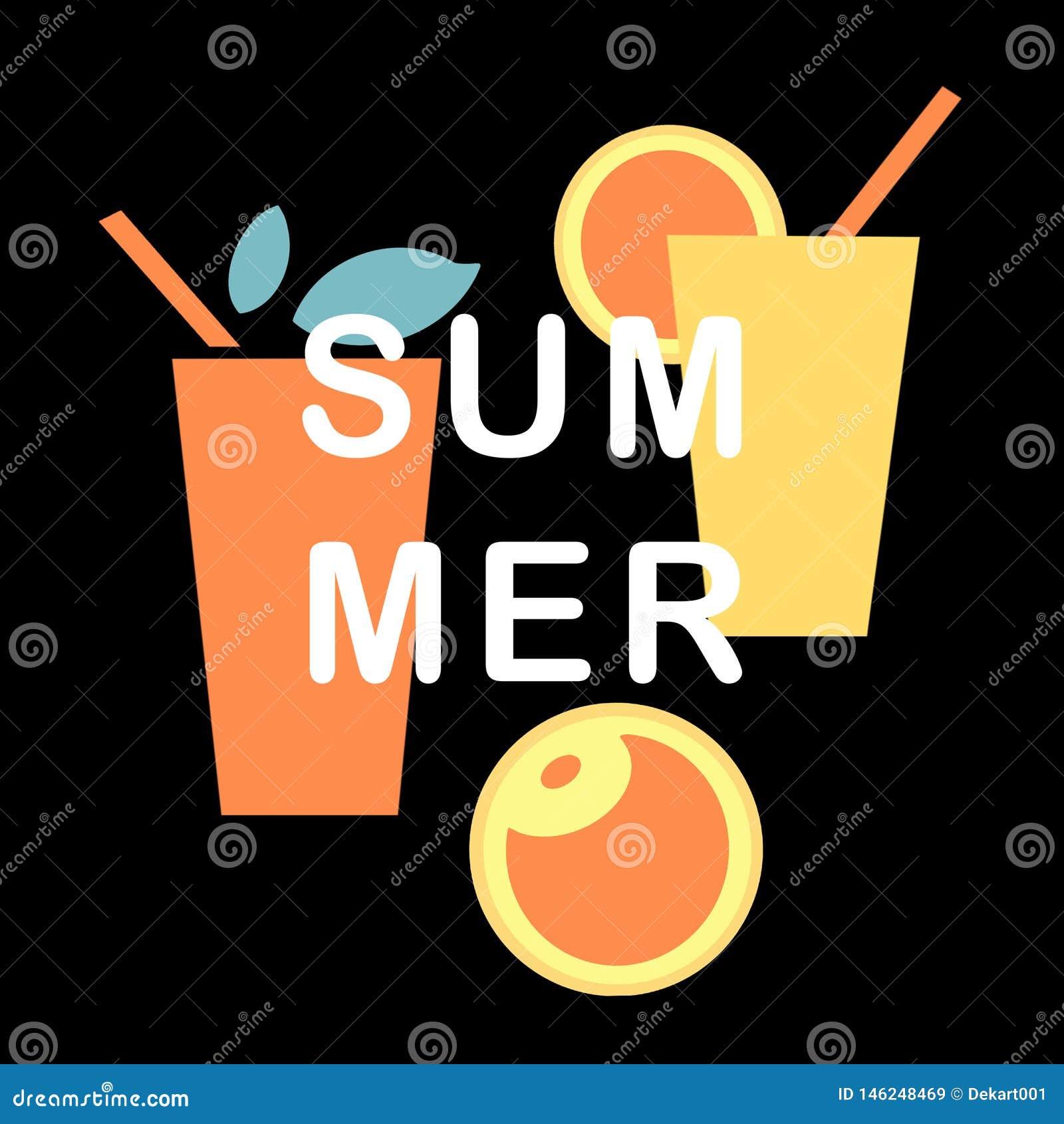 Το όμορφο καλοκαίρι έθεσε με το κίτρινα, πορτοκαλιά ποτό και τα φρούτα με τα φύλλα στο μαύρο υπόβαθρο