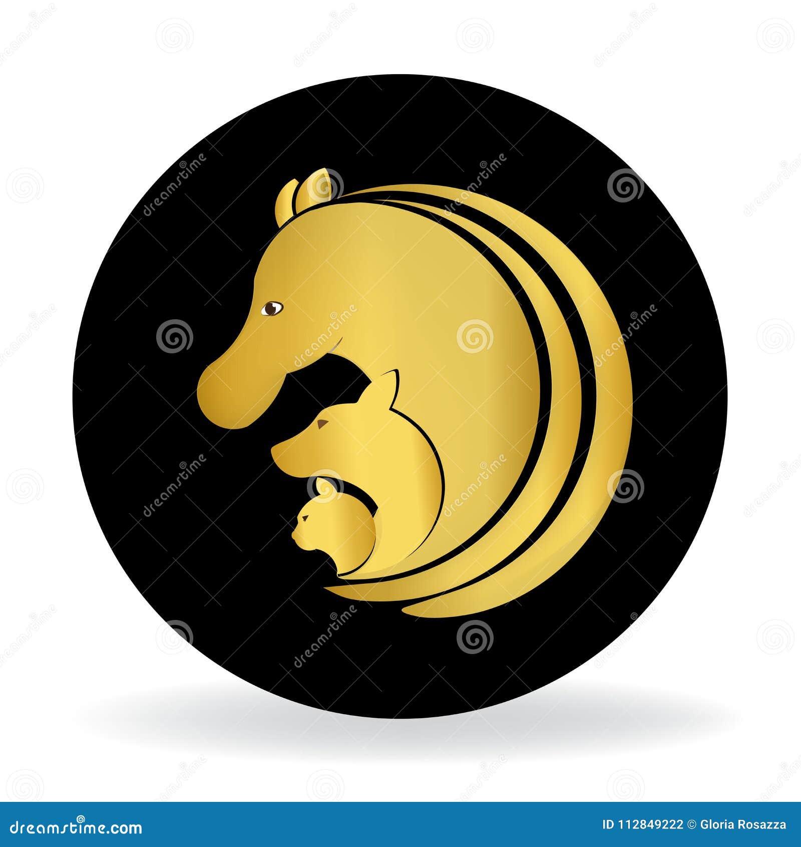 Το όμορφο χρυσό αλόγων, σκυλιών και γατών σύμβολο δελτίων ταυτότητας λογότυπων διανυσματικό ονομάζει την εικόνα logotype