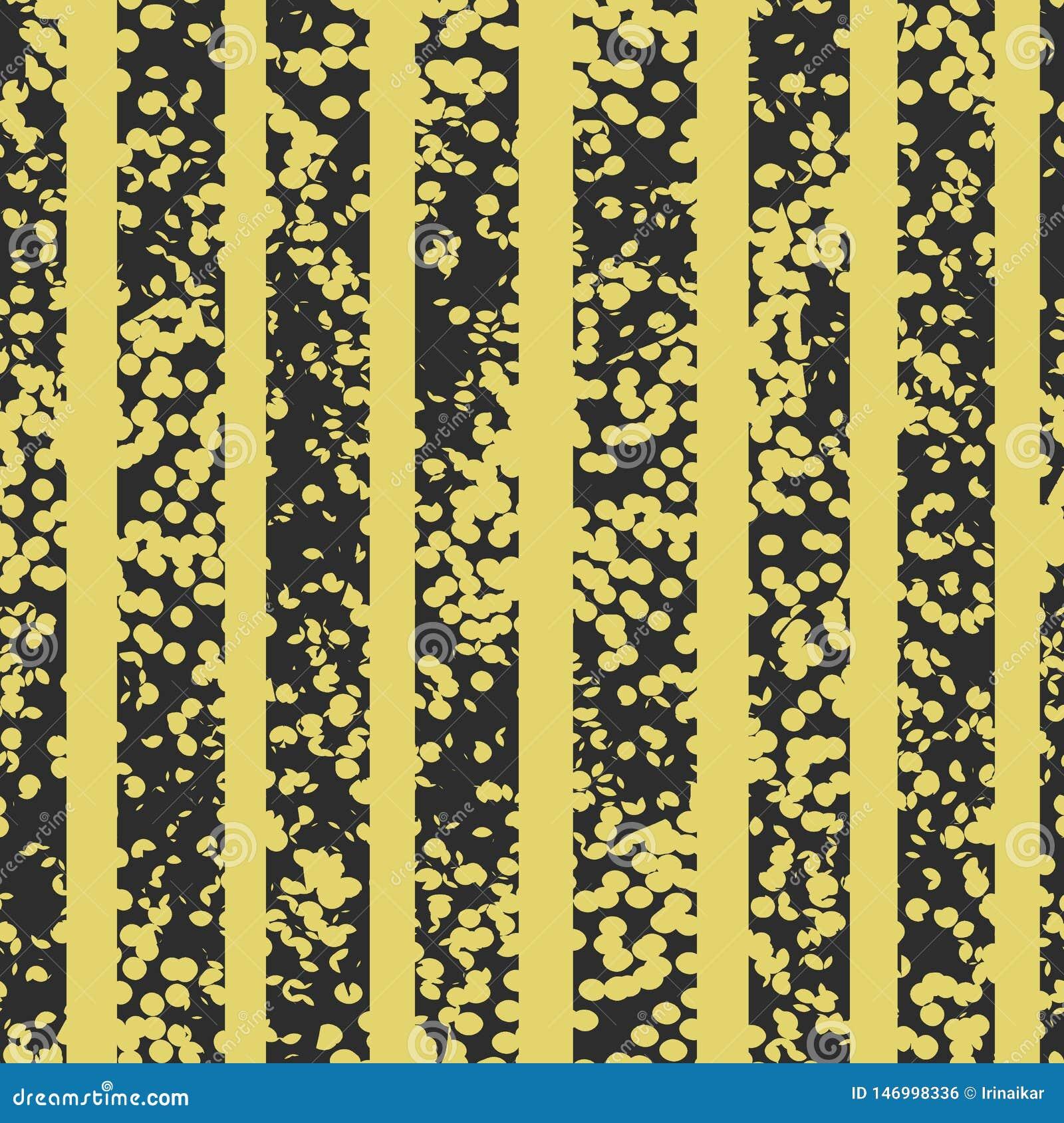 Το Grunge επισήμανε το μαύρο και κίτρινο διανυσματικό άνευ ραφής σχέδιο Ριγωτό κατασκευασμένο υπόβαθρο
