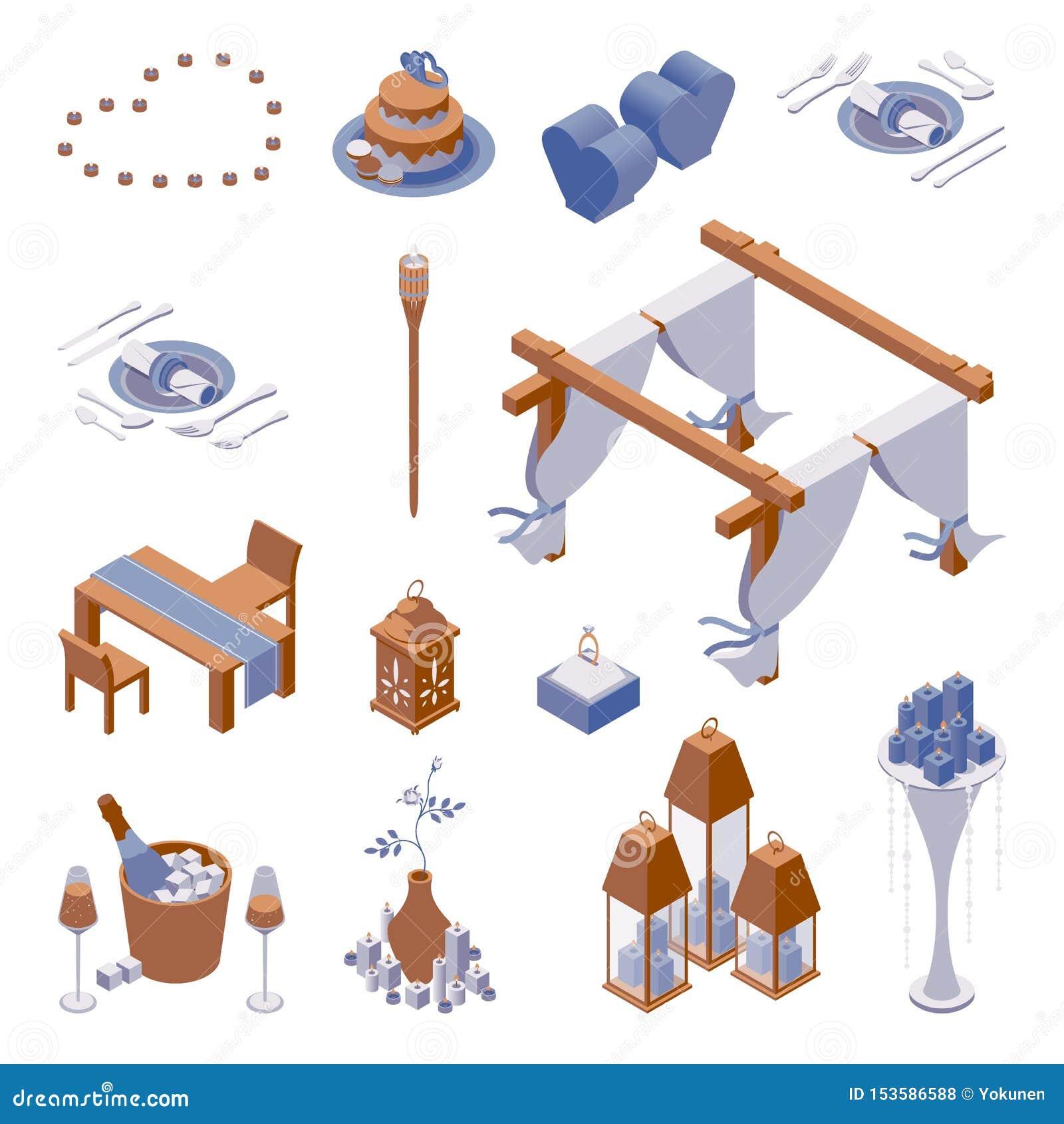 Το Isometric σύνολο αντικειμένων για τη διακόσμηση της ρομαντικής σκηνής γευμάτων παραλιών με τα φω τα κεριών, την επιτραπέζια ρύ