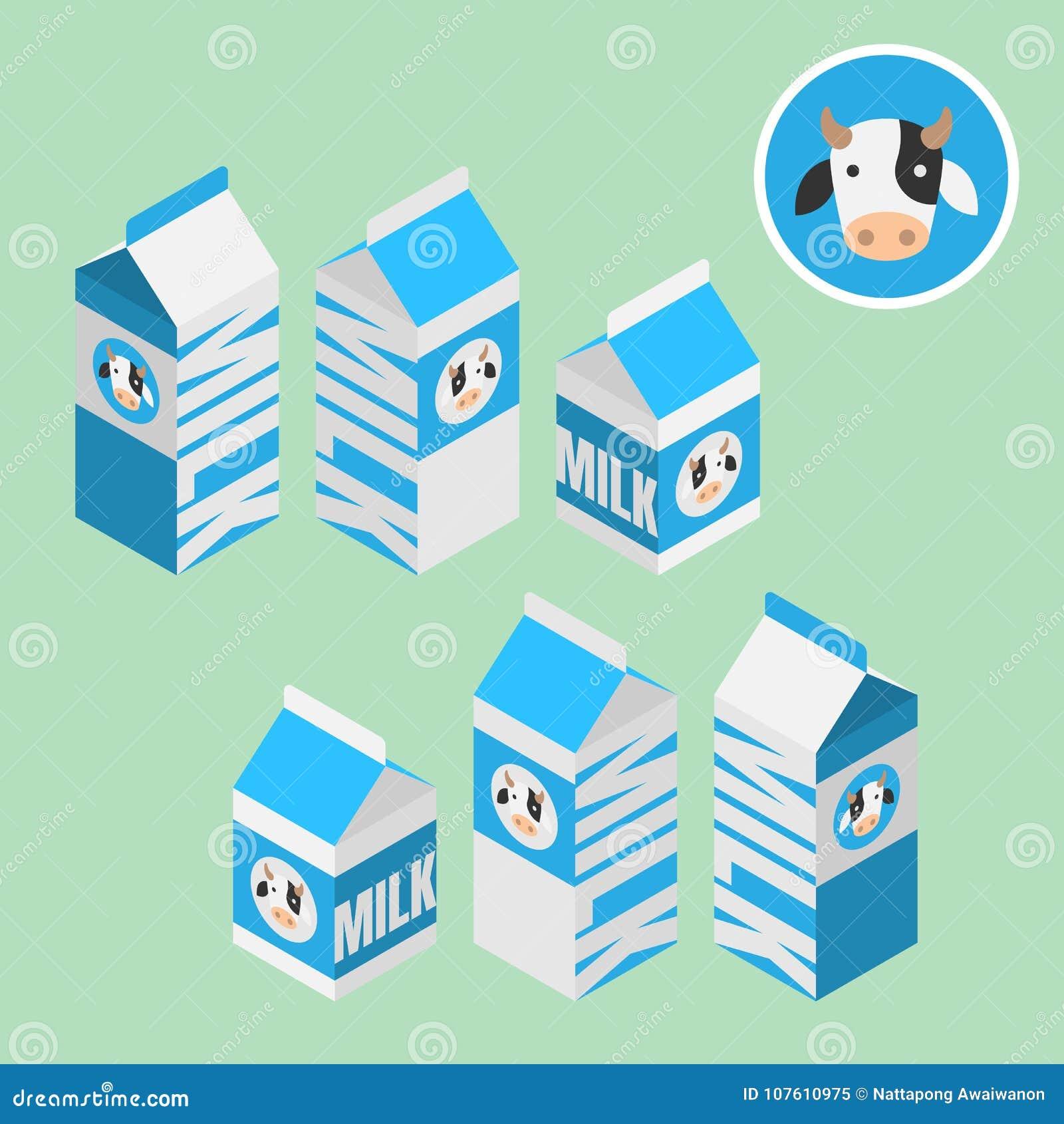 Το Isometric τρισδιάστατο κιβώτιο γάλακτος για το υγιές προϊόν, πωλεί στην υπεραγορά, αποθηκεύει και ψωνίζει, απομονωμένος στο αν