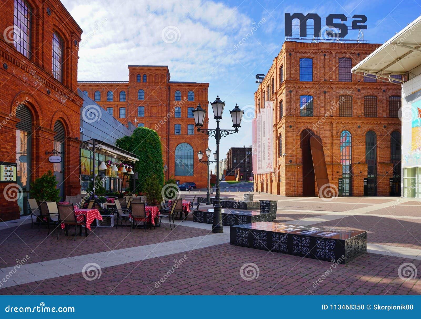 Το Manufaktura, τέχνες στρέφεται, λεωφόρος αγορών, και ελεύθερος χρόνος σύνθετος στο Λοντζ, Πολωνία