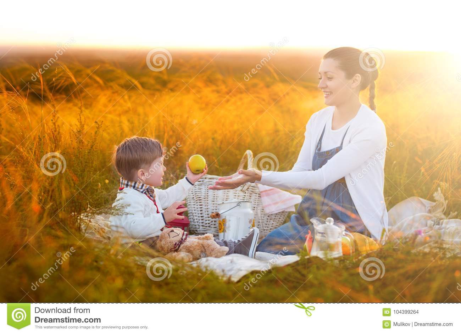 Το Mom ταΐζει το γιο της σε ένα πικ-νίκ Μητέρα και νέος γιος στην ηλιόλουστη ημέρα πτώσης Ευτυχής οικογένεια και υγιής έννοια κατ