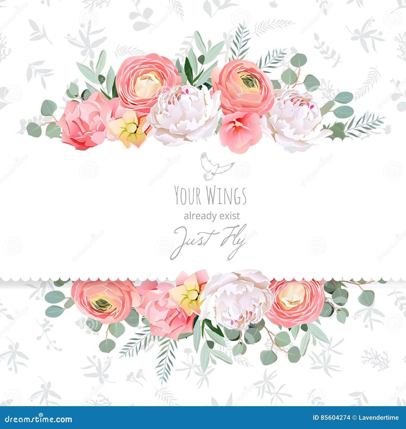 Το Peony, αυξήθηκε, βατράχιο, τα ρόδινα λουλούδια και το διακοσμητικό eucaliptus αφήνουν τη διανυσματική κάρτα σχεδίου
