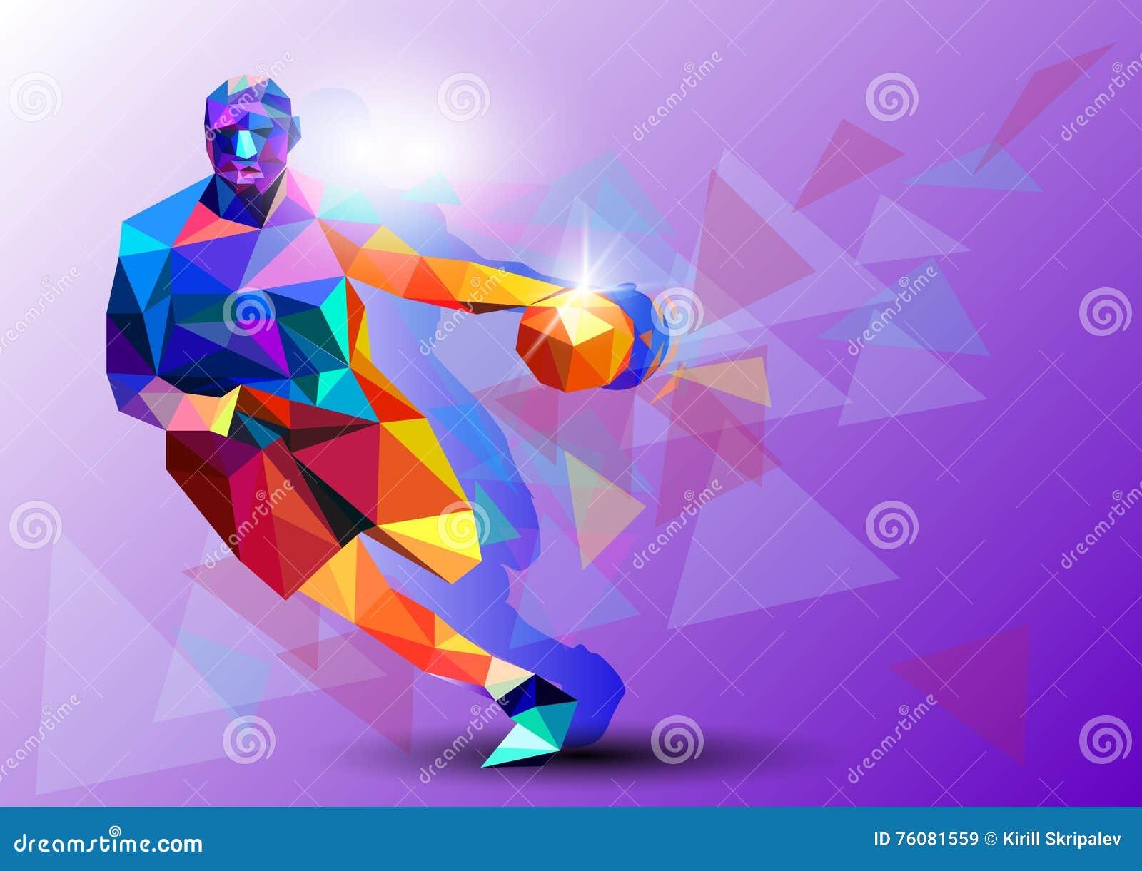 Το Polygonal γεωμετρικό επαγγελματικό παίχτης μπάσκετ στο ζωηρόχρωμο χαμηλό πολυ backgrounder, καθαρίζει - και - το τράνταγμα