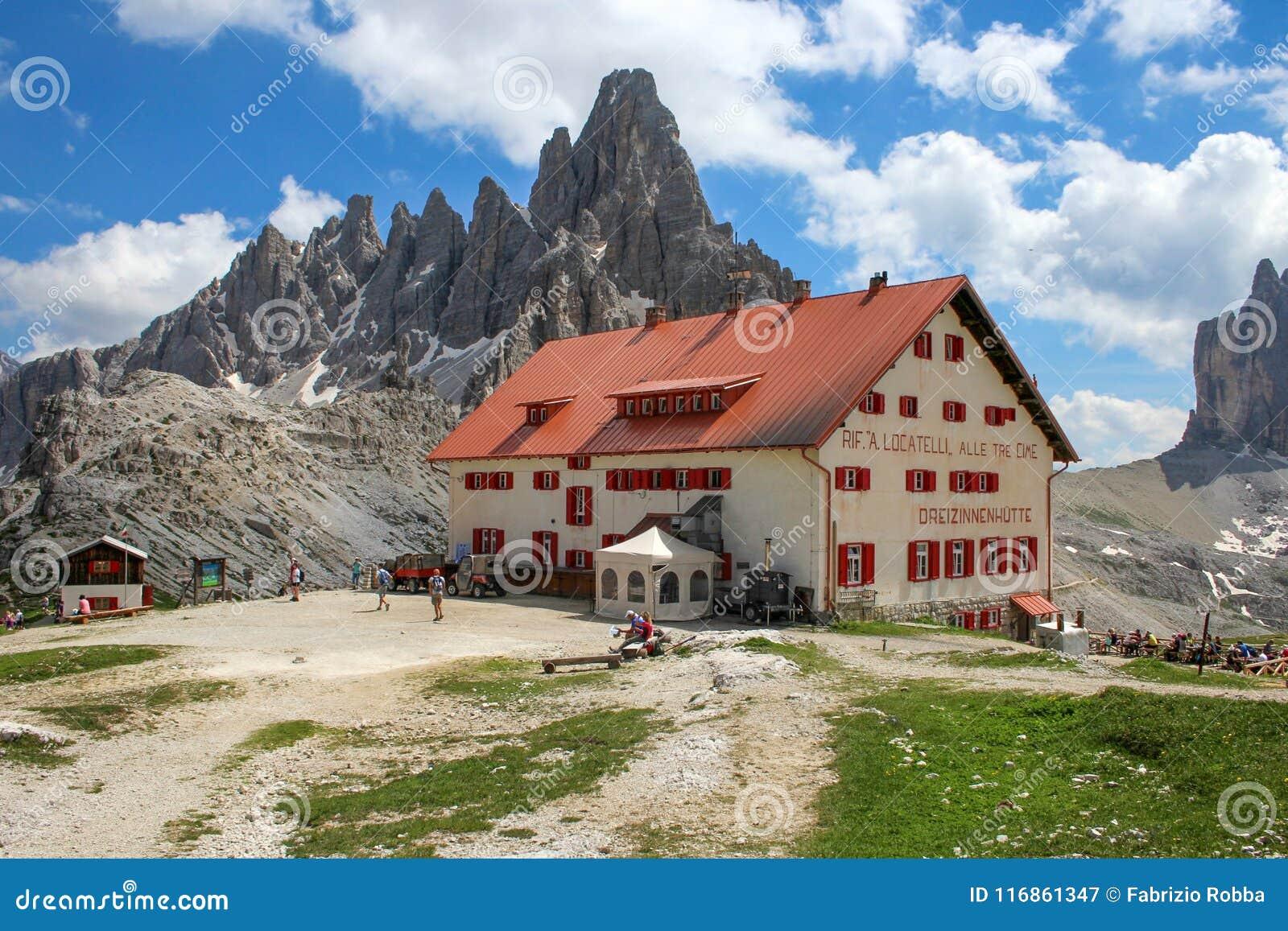 Το Rifugio Locatelli και Tre CIME Di Lavaredo, δολομίτες, Ιταλία ...