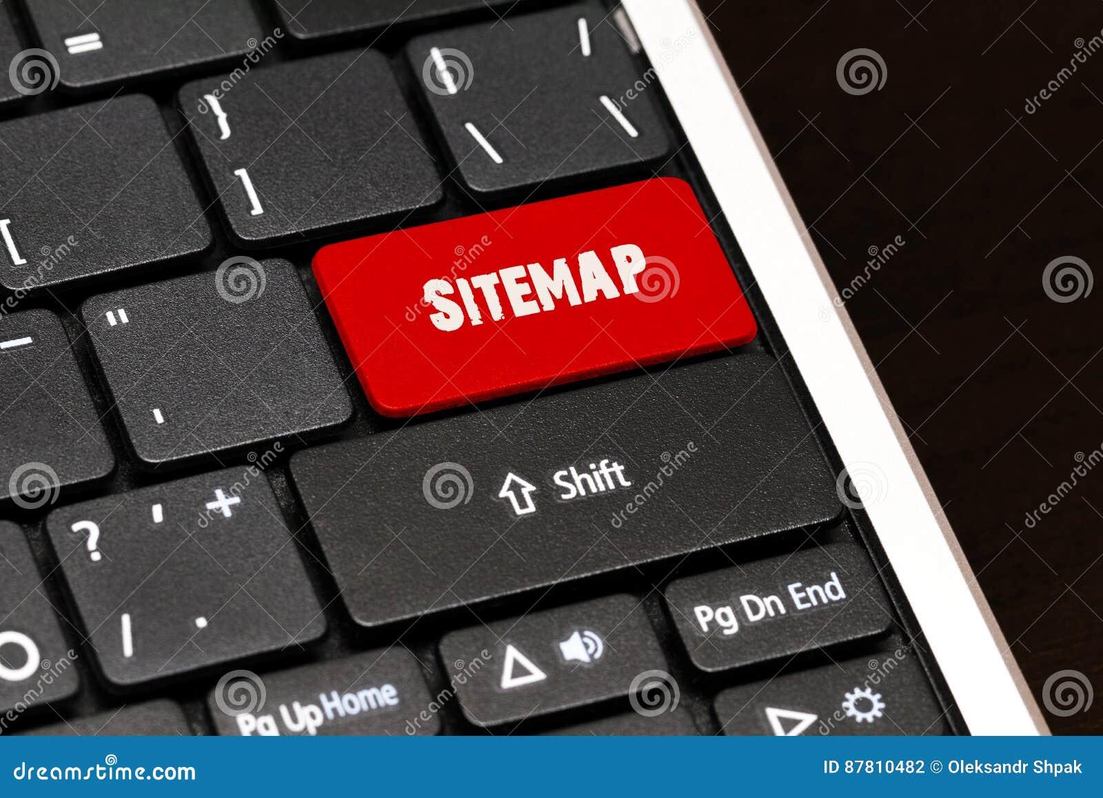 Το Sitemap στο κόκκινο εισάγει το κουμπί στο μαύρο πληκτρολόγιο
