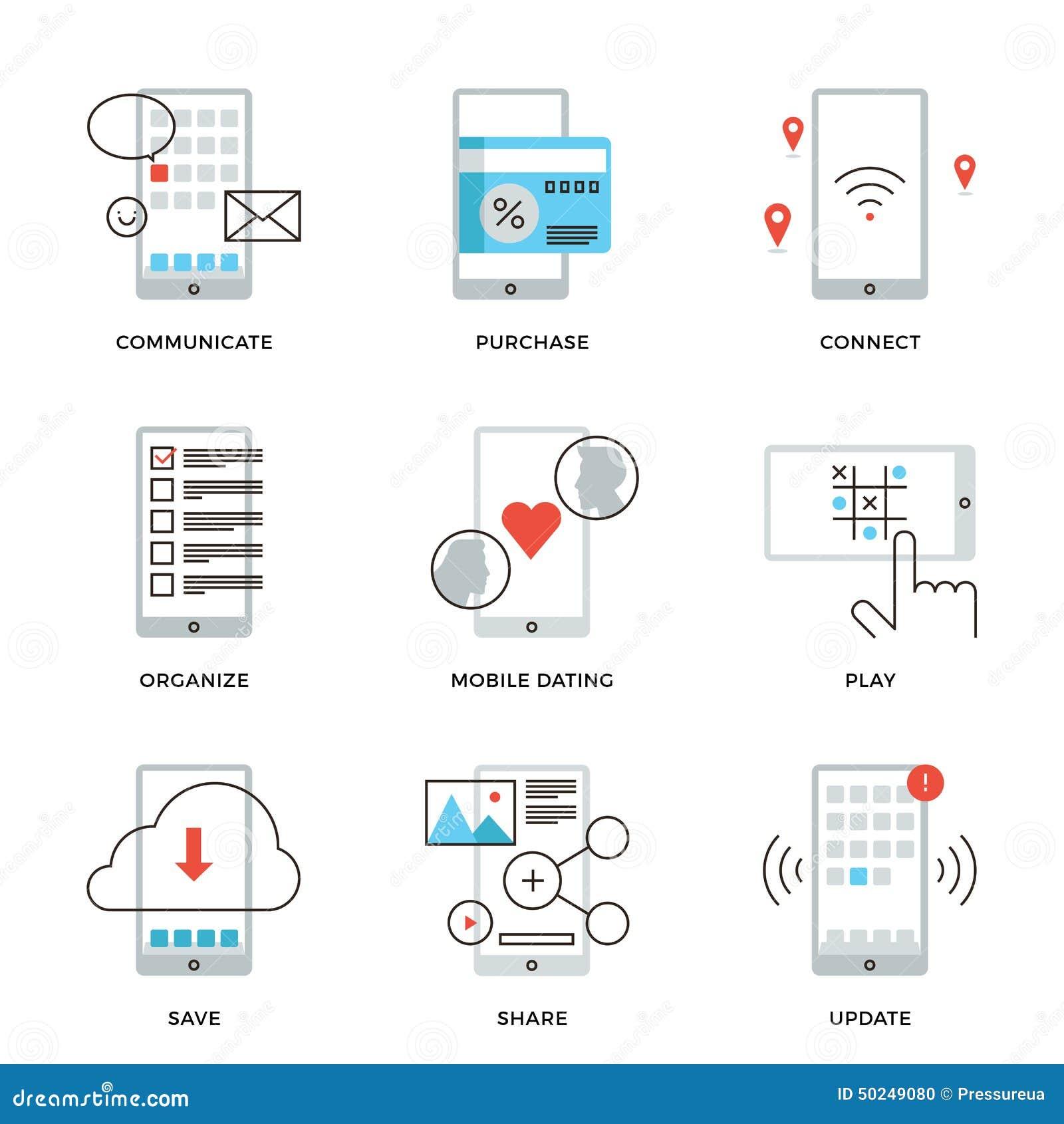 Το Smartphone χαρακτηρίζει τα εικονίδια γραμμών καθορισμένα