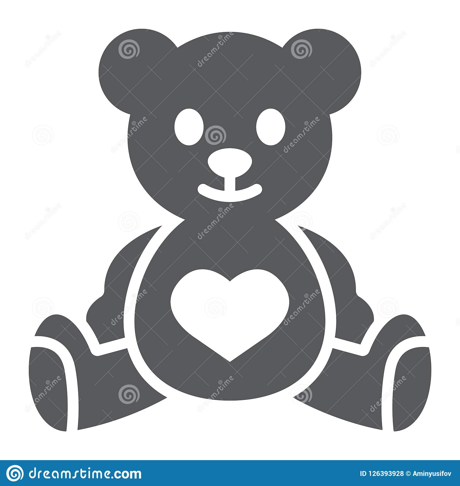 Το Teddy αντέχει glyph το εικονίδιο, το παιδί και το παιχνίδι, ζωικό σημάδι, διανυσματική γραφική παράσταση, ένα στερεό σχέδιο σε