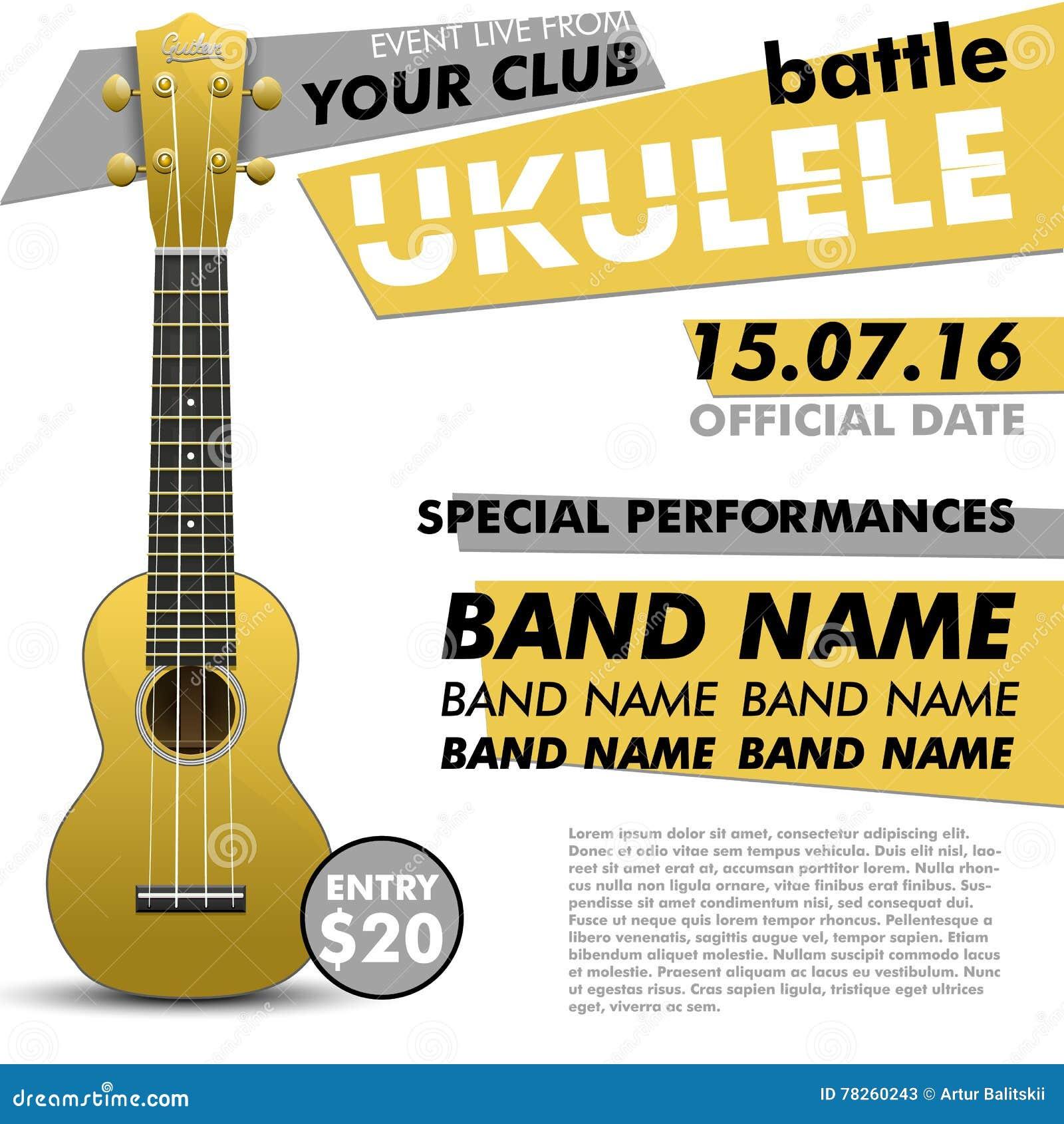Το Ukulele παρουσιάζει αφίσα για σχεδίου σας μάχης τη ζωντανή συναυλίας ακουστική απόδοση γεγονότος φολκλορικής μουσικής ανεξάρτη