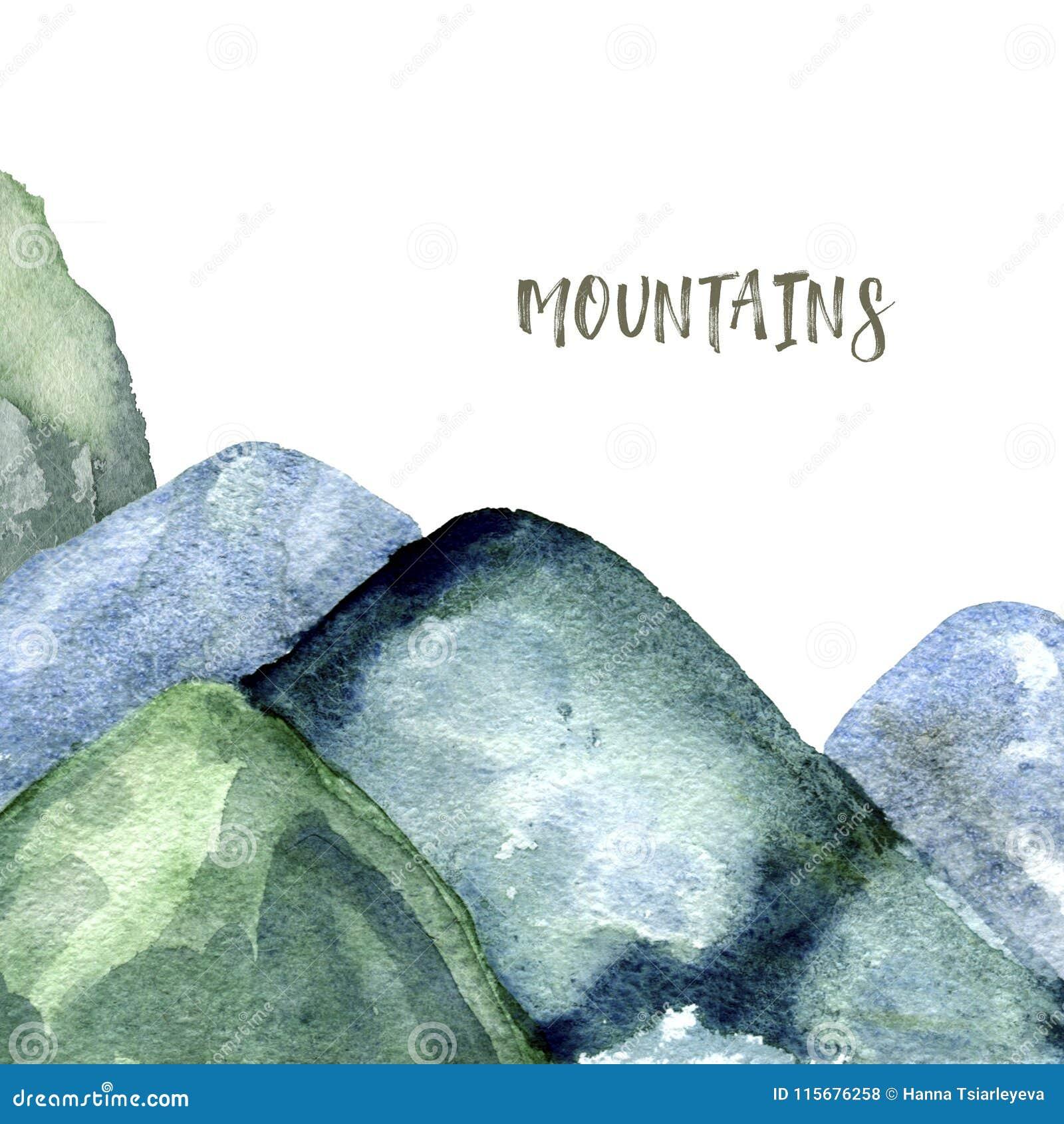 Το watercolor βουνών καταβρέχει σύστασης την πράσινη σχεδίων τέχνη συνδετήρων απεικόνισης γεωμετρική για τον ιματισμό εορτασμού τ