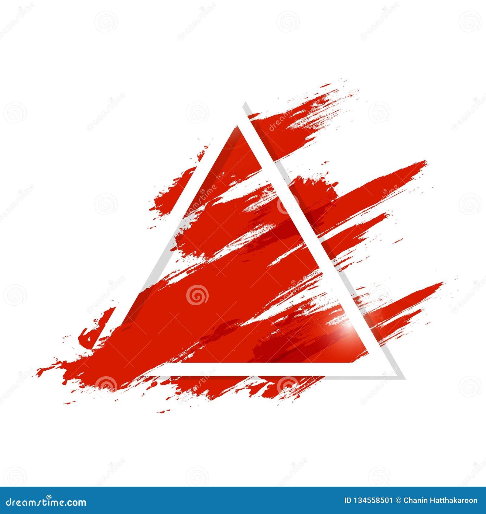 Το Watercolor, υγρός κόκκινος παφλασμός αίματος με το πλαίσιο τριγώνων βουρτσών grunge splatter μελανώνει την καλλιτεχνική αφηρημ
