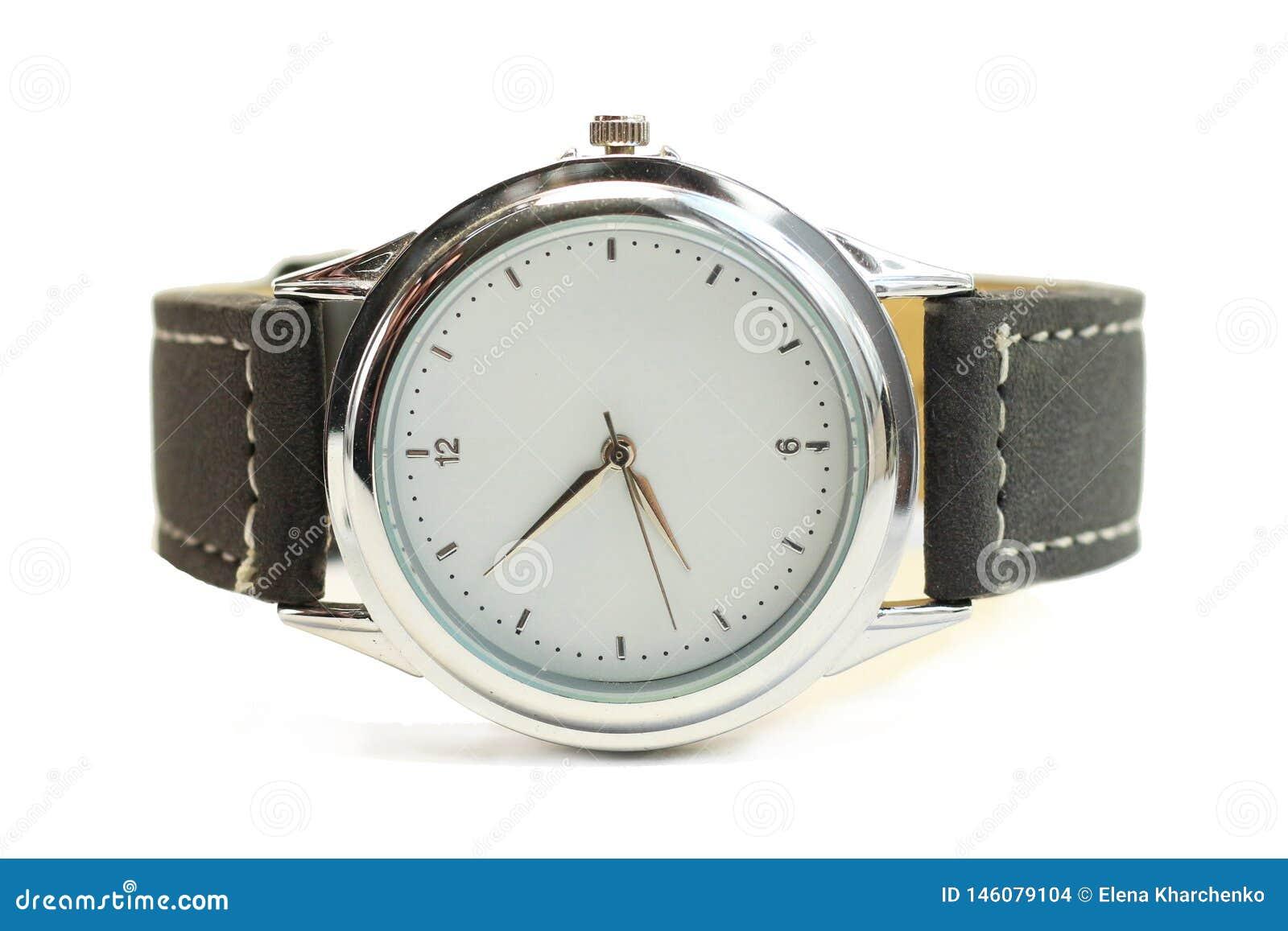 Το Wristwatch με το άσπρο τρόχισμα χρωμίου οθόνης με το μαύρο λουρί απομονώνει