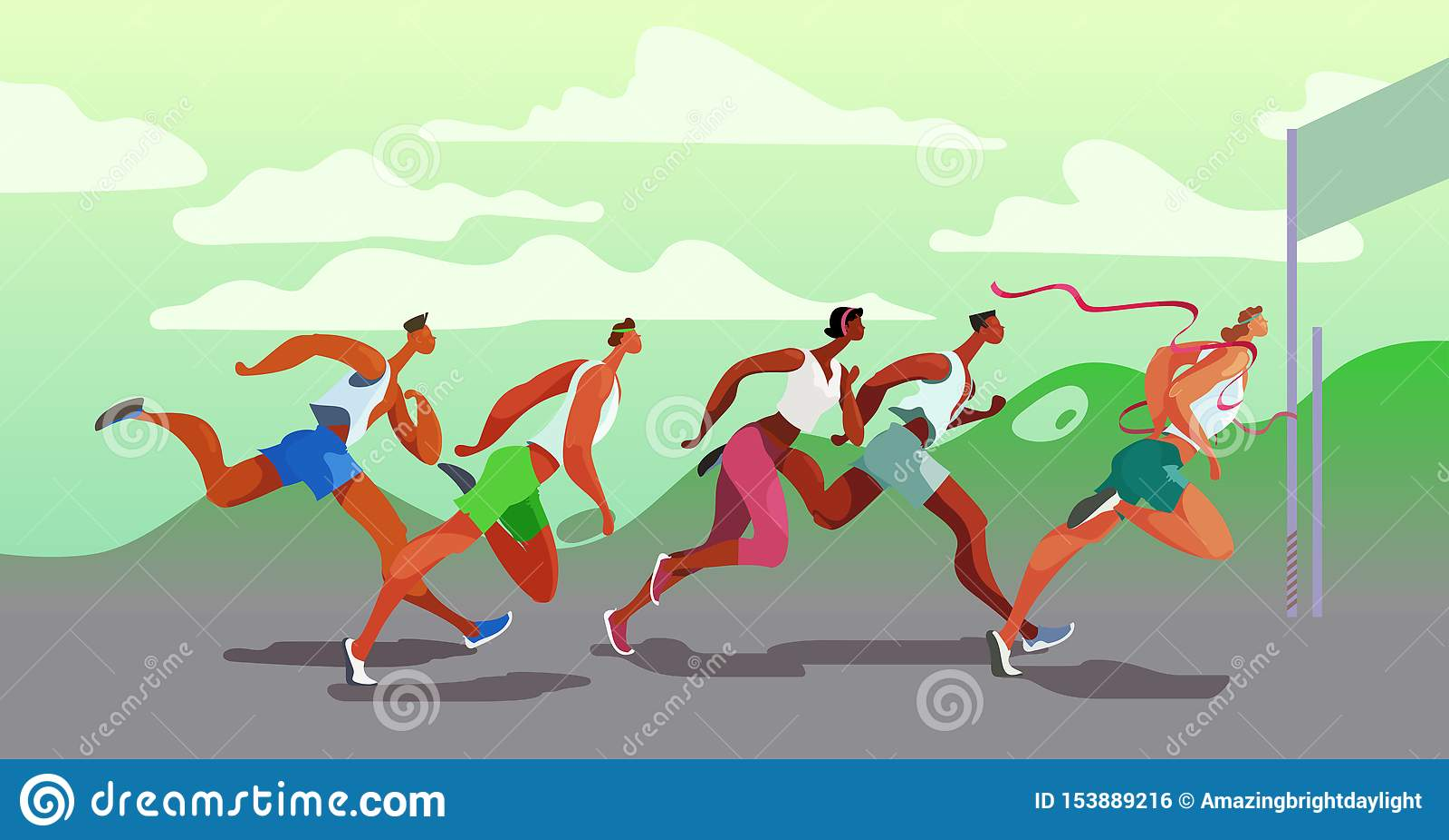 Τρέχοντας άνθρωποι Dinamic Νικητής Αθλητικός ανταγωνισμός στον αέρα Τρέξιμο μαραθωνίου r EPS10