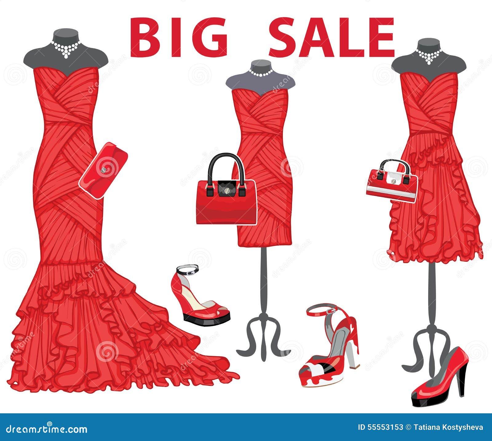 b36a6be82efe Τρία κόκκινα φορέματα με τα εξαρτήματα μεγάλη Διανυσματική ...