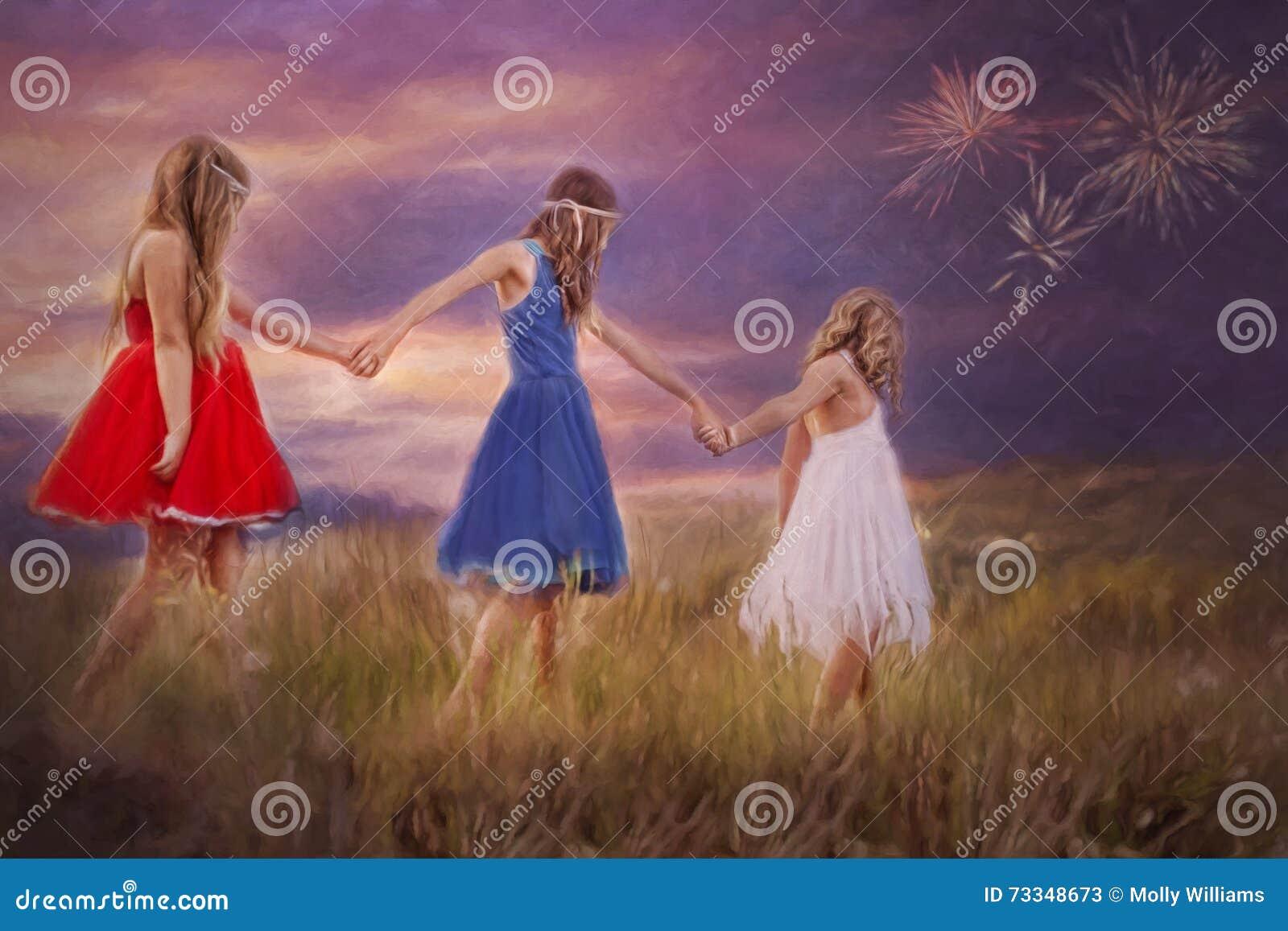 Τρία νέα κορίτσια χέρι-χέρι