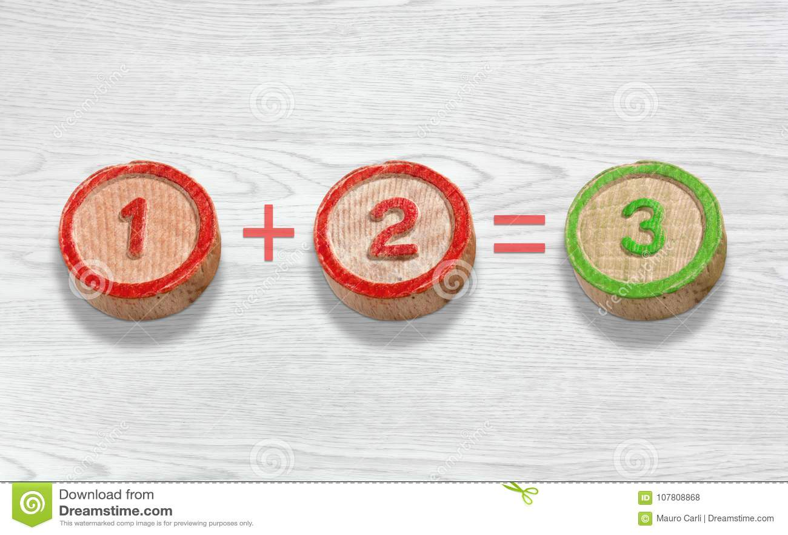 Τρία ξύλινα κομμάτια που απεικονίζουν την προσθήκη του αριθμού ένα και δύο