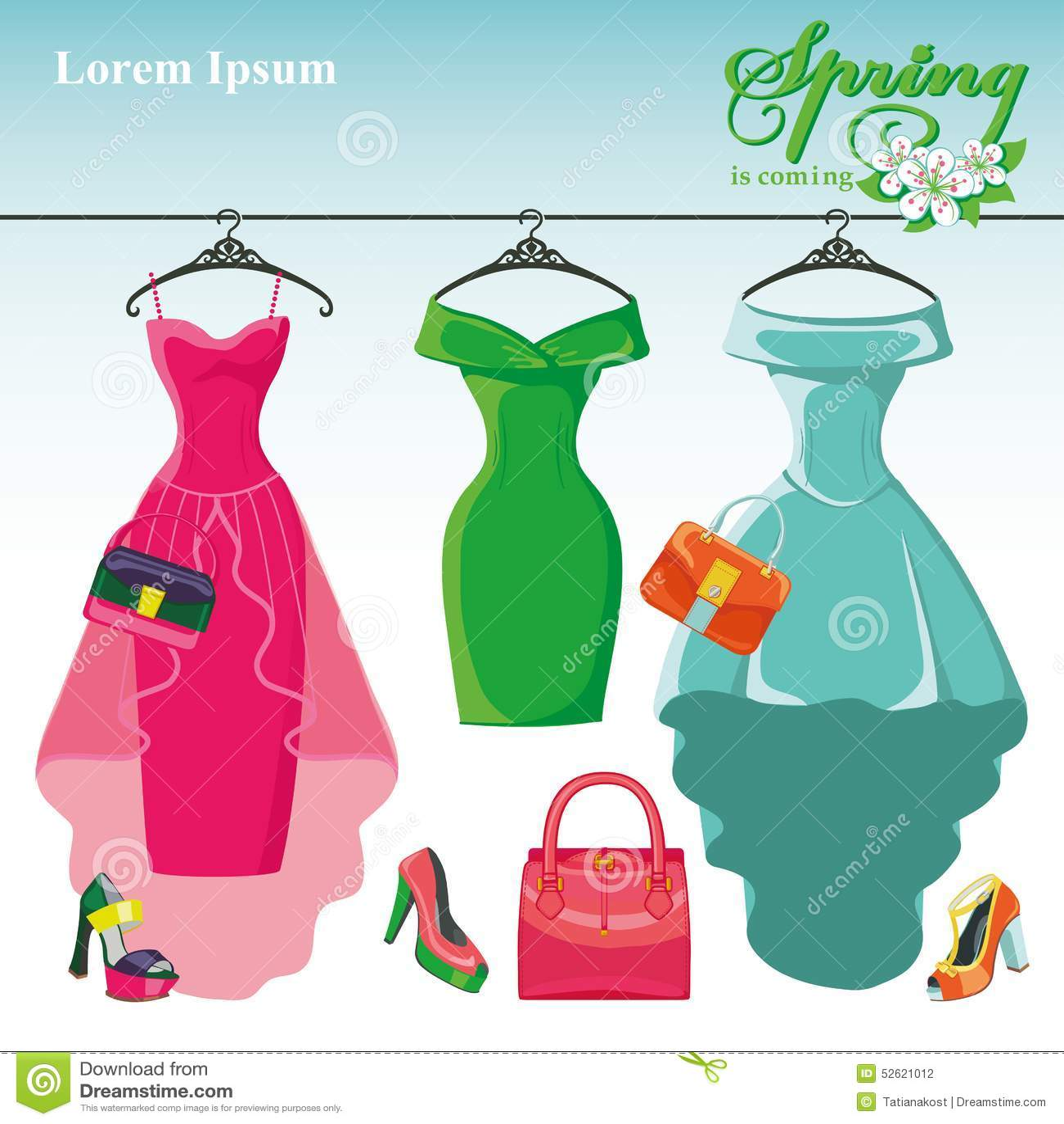 cbd0f72380e0 Τρία φορέματα άνοιξη σε μια κρεμάστρα Μόδα Διανυσματική απεικόνιση ...