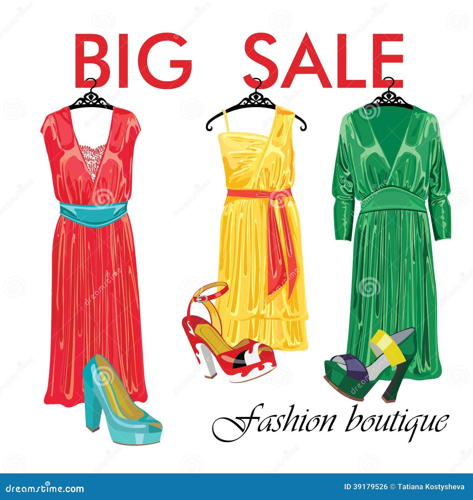 37caa3a8e664 Τρία φορέματα μεταξιού και ανοικτά παπούτσια. Μπουτίκ μόδας. Download  preview