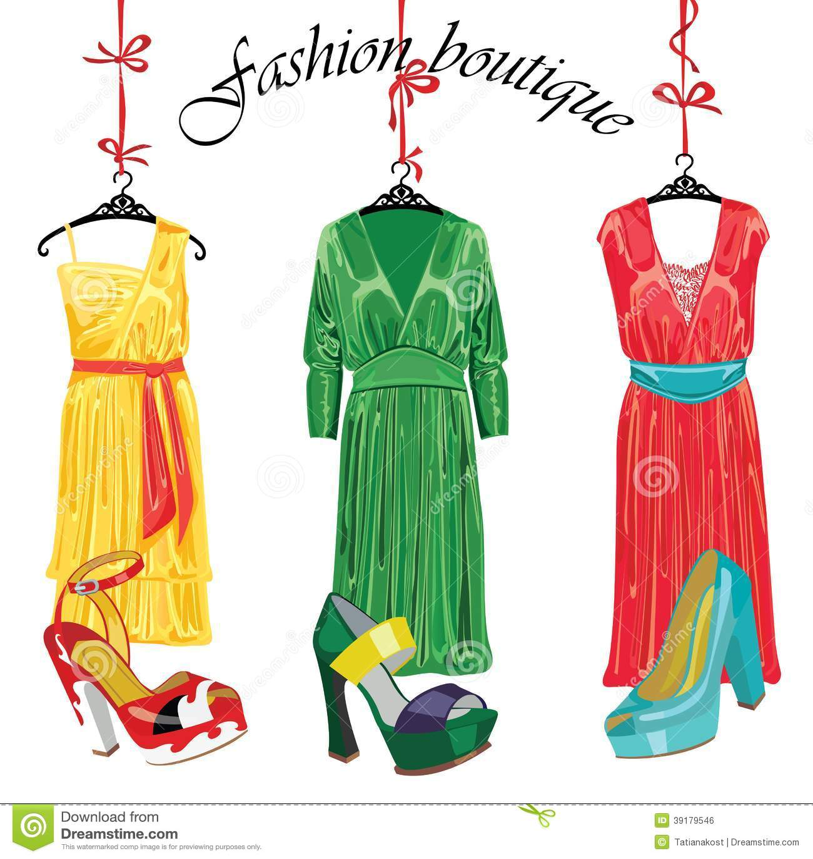 f007d164dbbe Download Τρία φορέματα μεταξιού και Shoeses. Μπουτίκ μόδας Διανυσματική  απεικόνιση - εικονογραφία από εορταστικός