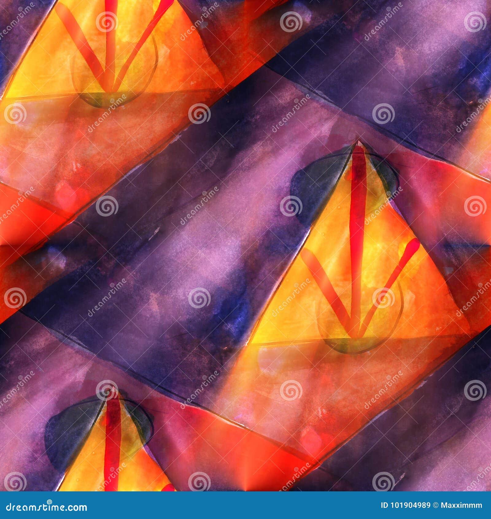 Τρίγωνο τέχνης, κόκκινη, μπλε ελαφριά ραφή watercolor σύστασης υποβάθρου