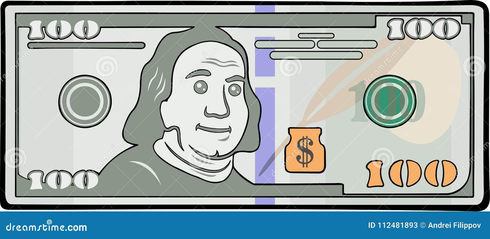 Τραπεζογραμμάτιο κινούμενων σχεδίων με εκατό δολάρια