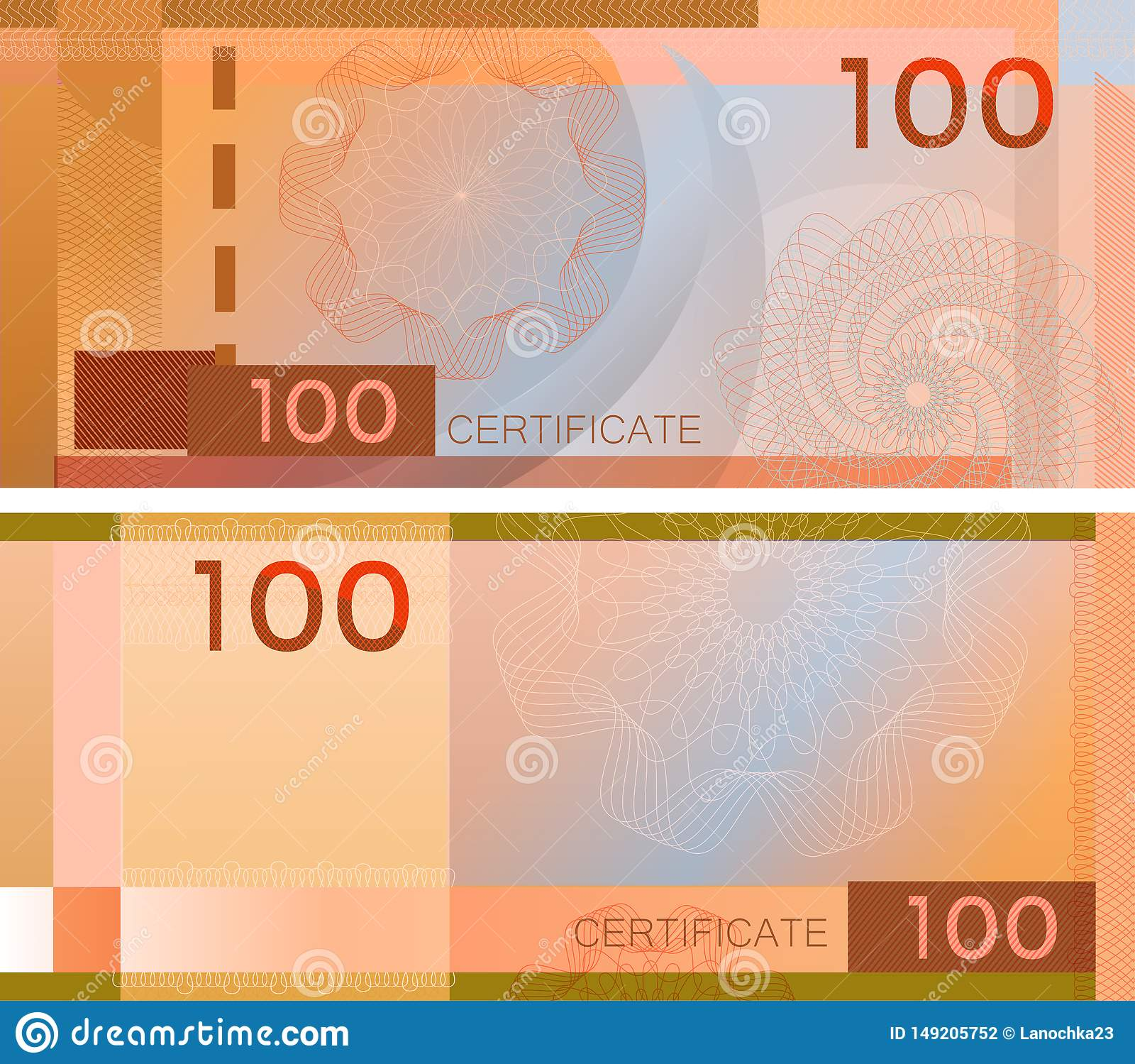 Τραπεζογραμμάτιο 100 προτύπων αποδείξεων με τα υδατόσημα και τα σύνορα σχεδίων αραβουργήματος Πορτοκαλί τραπεζογραμμάτιο υποβάθρο