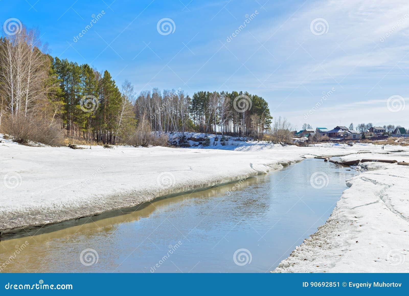 τραχύς καιρός ξεπαγώνωτος ρευμάτων άνοιξη ποταμών τοπίο αγροτικό Σιβηρία, Ρωσία