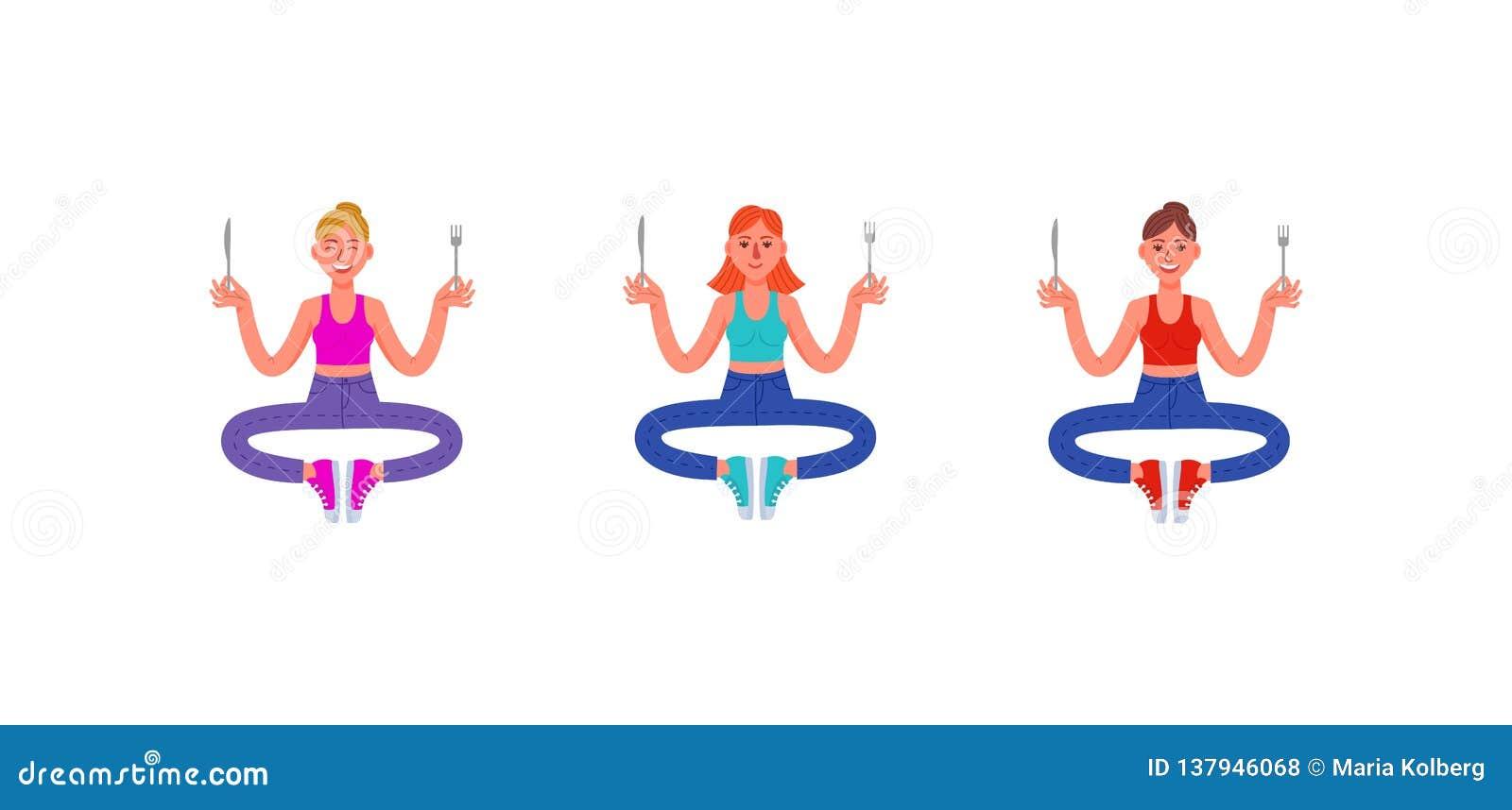 Τρεις λεπτές γυναίκες κάθονται με ένα δίκρανο και ένα μαχαίρι στα χέρια τους Σύνολο πεινασμένων γυναικών επίσης corel σύρετε το δ