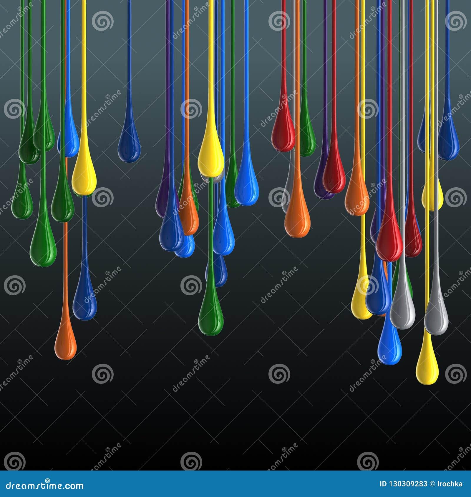 τρισδιάστατες πολύχρωμες στιλπνές σταγόνες πτώσης χρωμάτων στο μαύρο υπόβαθρο