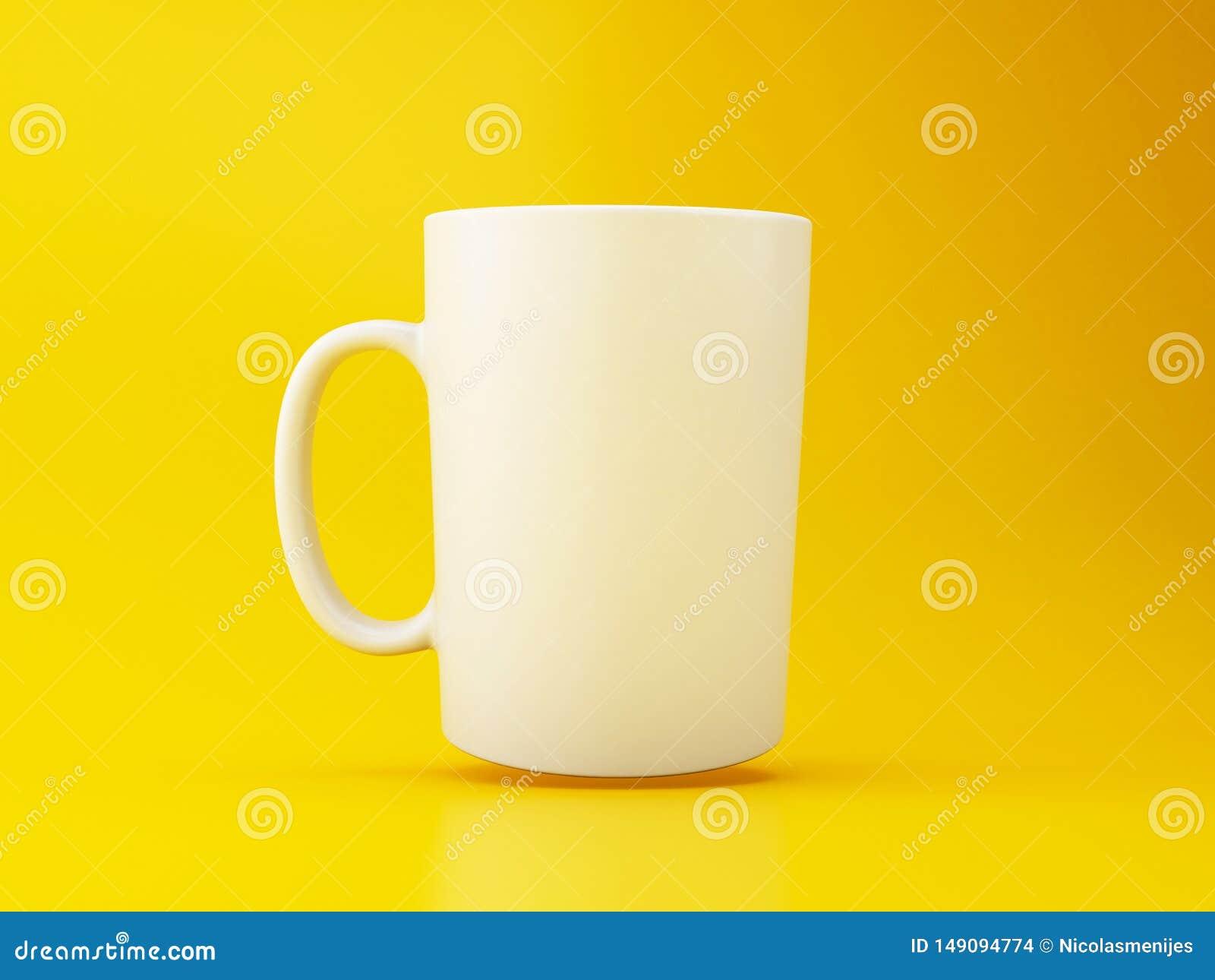τρισδιάστατη άσπρη κούπα καφέ στο κίτρινο υπόβαθρο