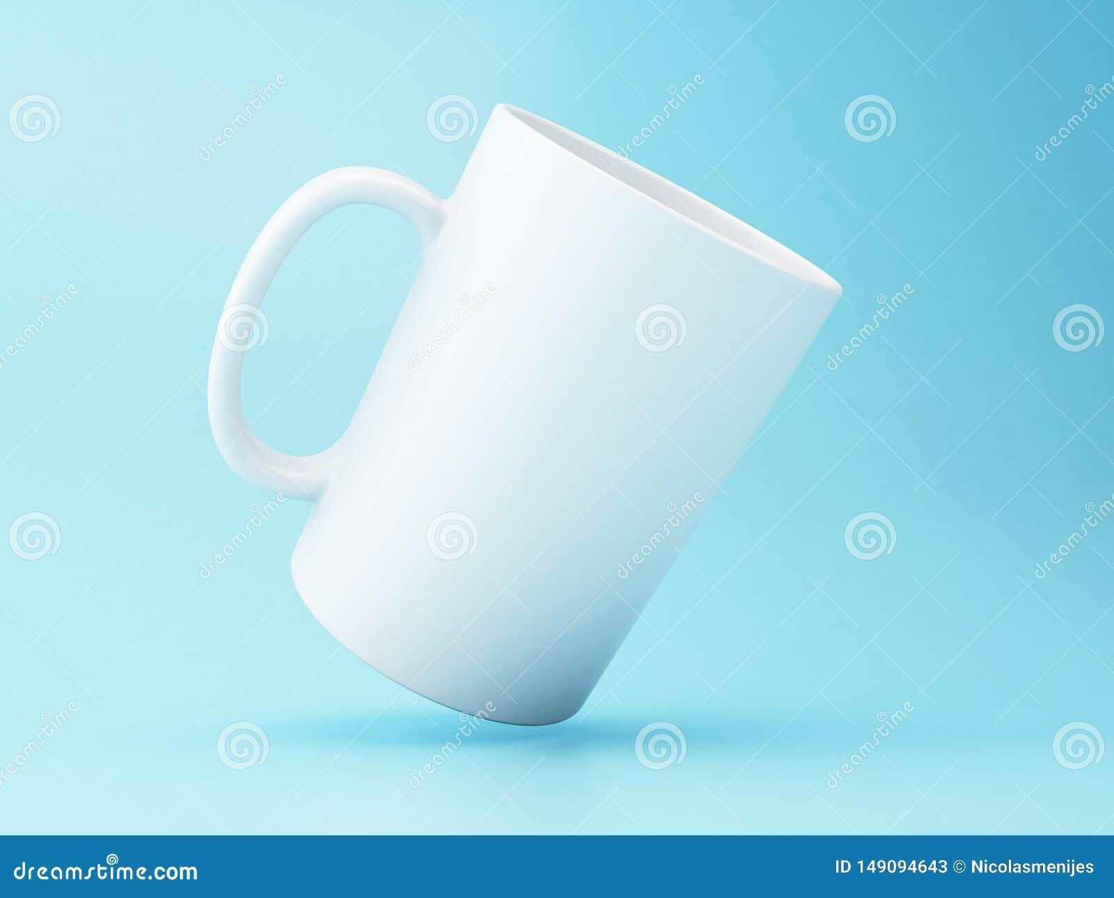 τρισδιάστατη άσπρη κούπα καφέ στο μπλε υπόβαθρο