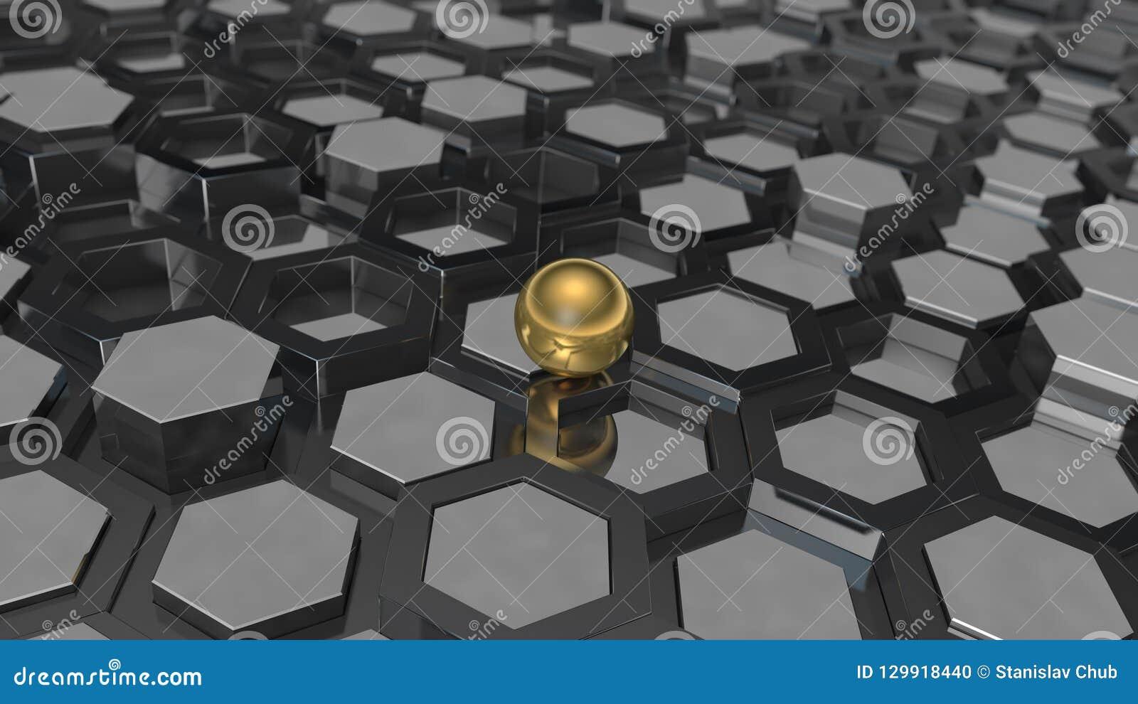 τρισδιάστατη απεικόνιση ενός υποβάθρου της πολλαπλότητας του μετάλλου λευκόχρυσου και της χρυσής σφαίρας, μια σφαίρα Η ιδέα της ε