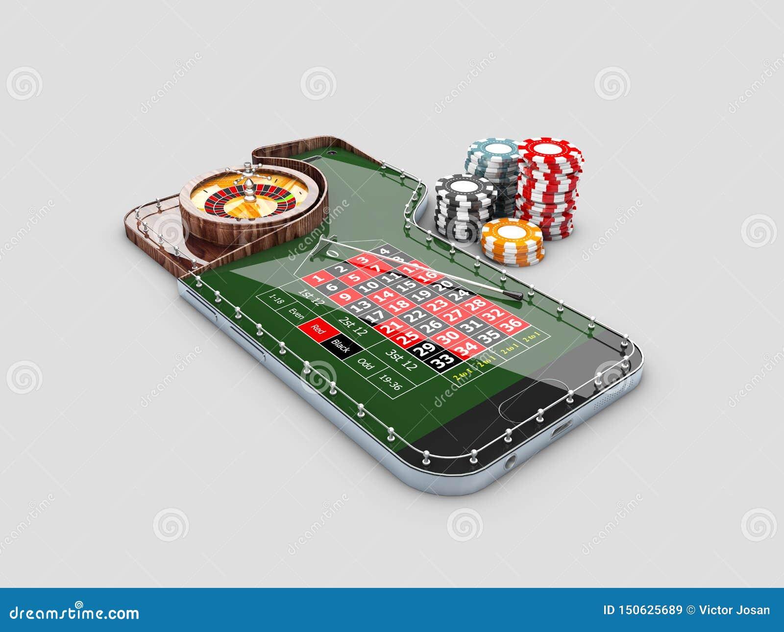 τρισδιάστατη απεικόνιση του ρεαλιστικού πίνακα ρουλετών χαρτοπαικτικών λεσχών, στην τηλεφωνική οθόνη Σε απευθείας σύνδεση έννοια