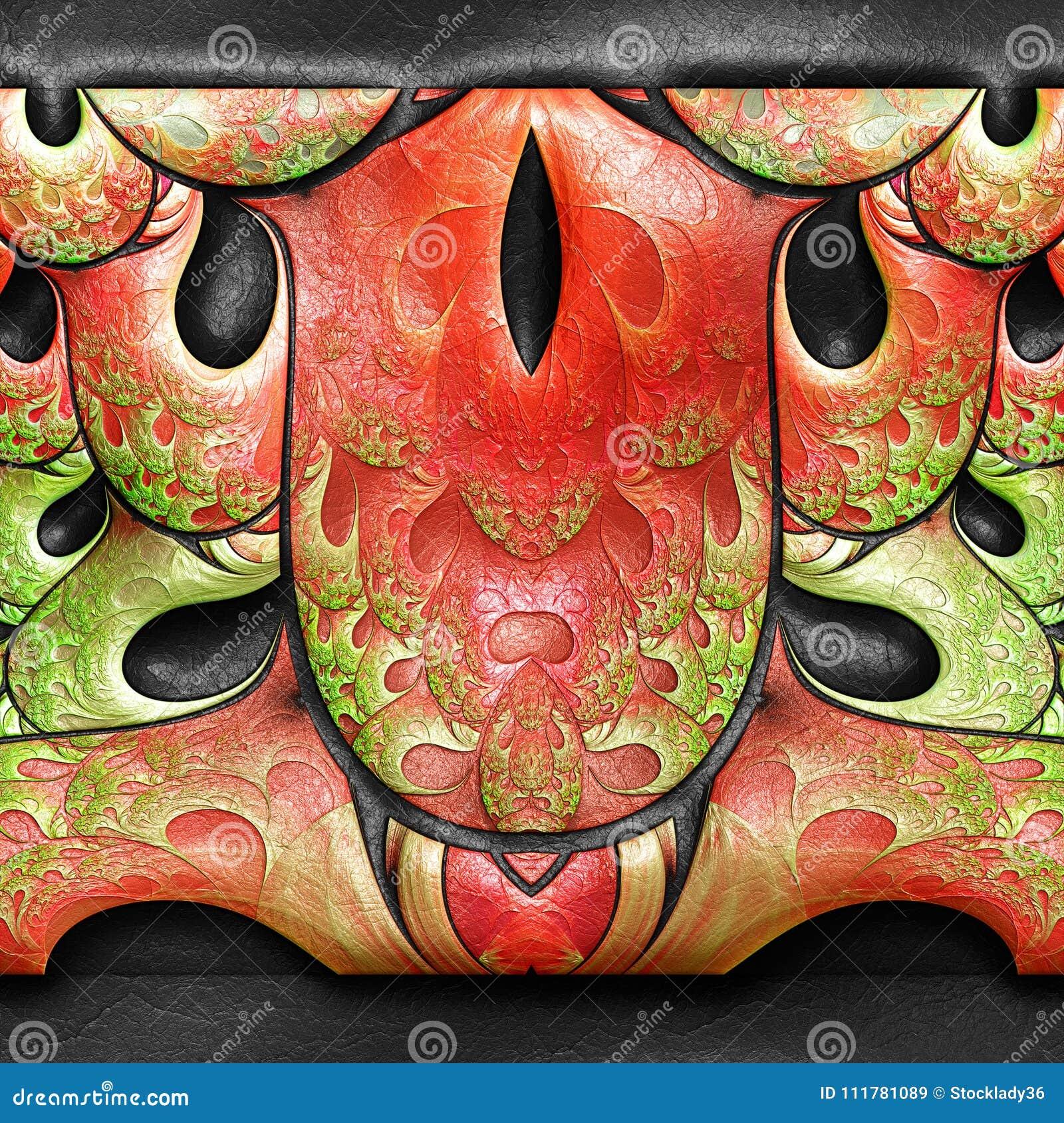 τρισδιάστατη απόδοση πλαστικό fractal στο δέρμα