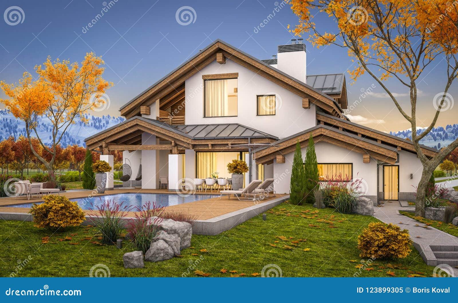 τρισδιάστατη απόδοση του σύγχρονου σπιτιού το φθινόπωρο βραδιού