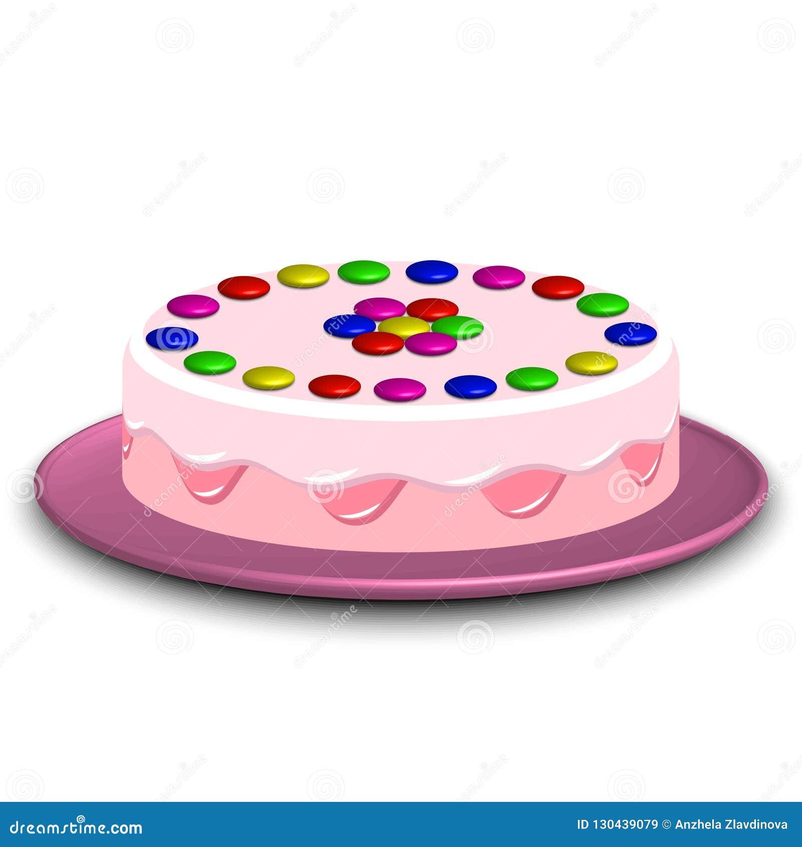 τρισδιάστατη εικόνα ενός κέικ που διακοσμείται με την καραμέλα confectionery