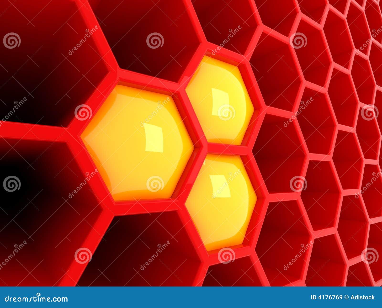τρισδιάστατη κυψελωτή κόκκινη τεχνολογία