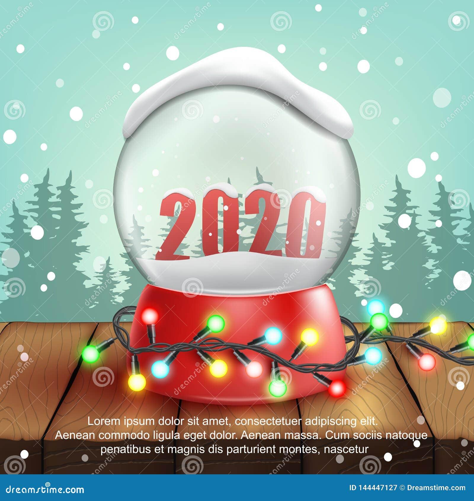 τρισδιάστατη ρεαλιστική σφαίρα χιονιού με το κείμενο 2020 διάνυσμα
