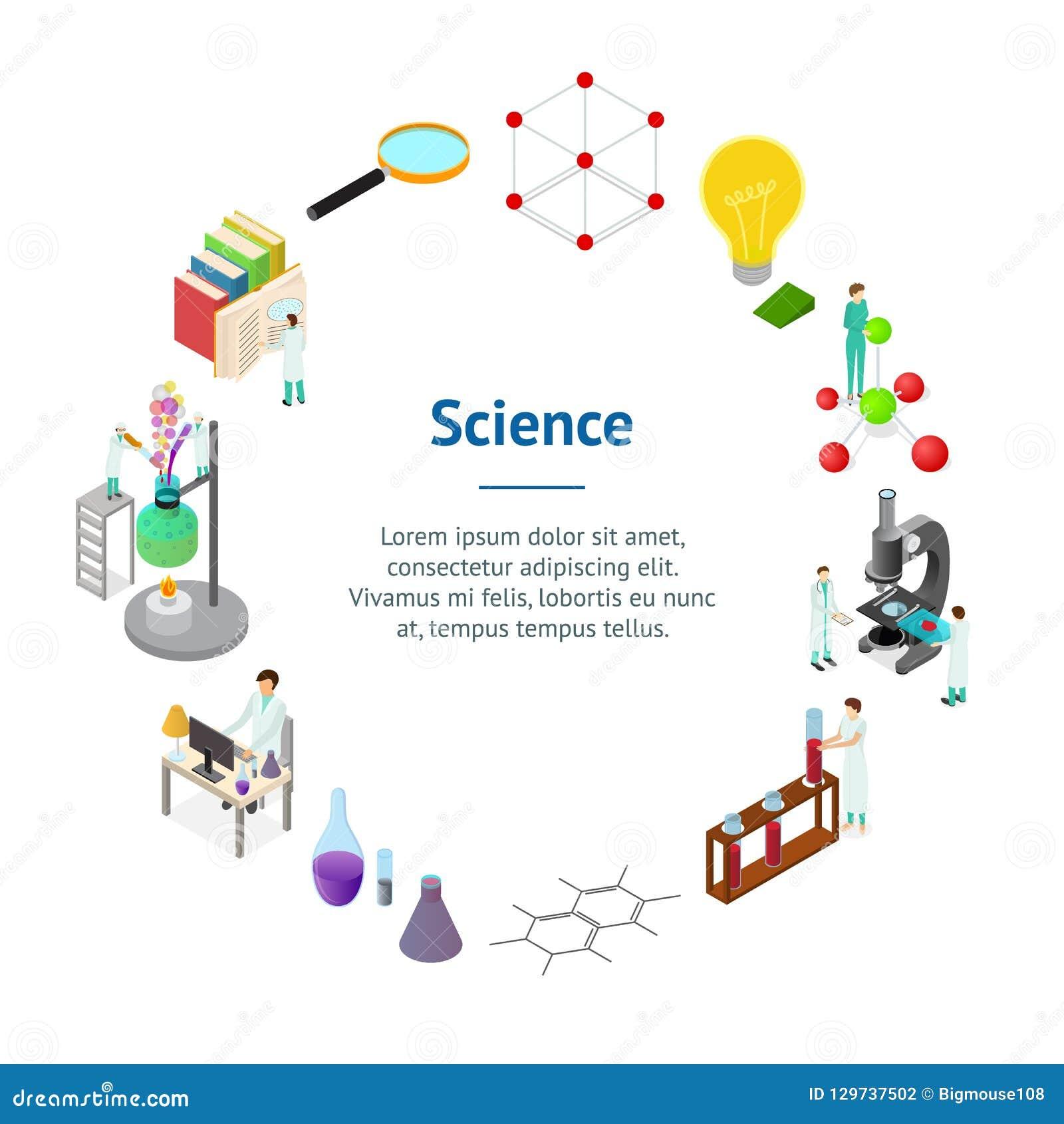 Τρισδιάστατη Isometric άποψη κύκλων καρτών εμβλημάτων έννοιας επιστήμης χημική φαρμακευτική διάνυσμα