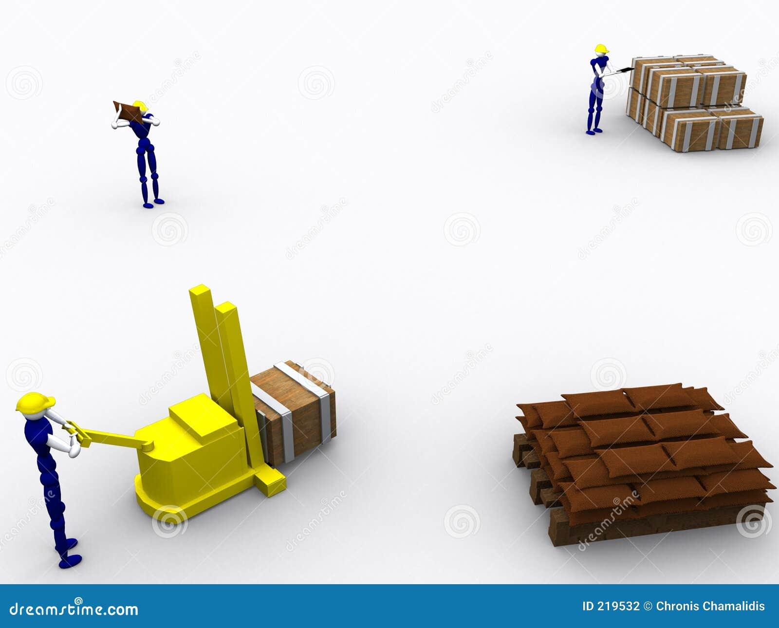 τρισδιάστατοι 5 εργαζόμενοι έντασης