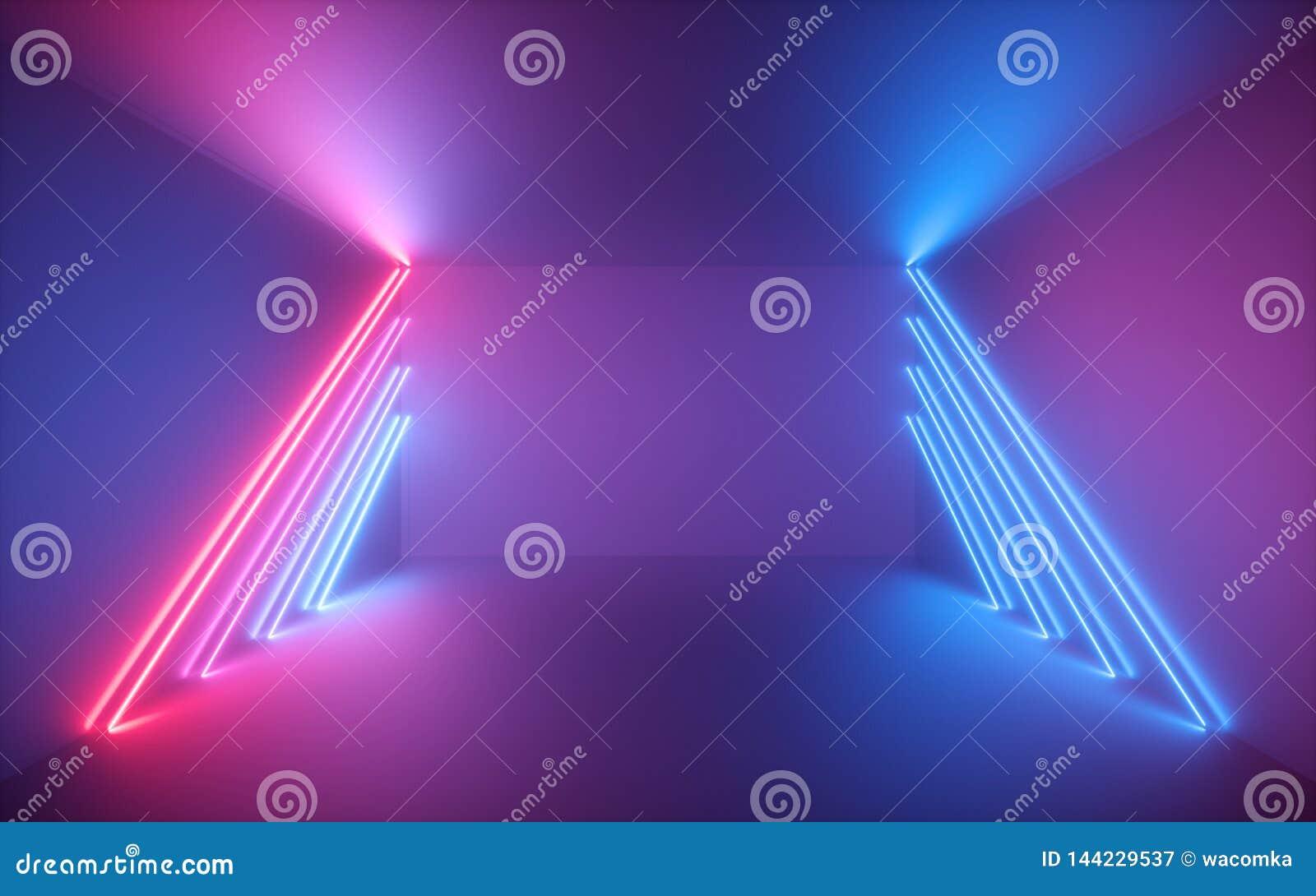 τρισδιάστατος δώστε, οδοντώστε τις μπλε γραμμές νέου, φωτισμένο κενό δωμάτιο, εικονικό διάστημα, υπεριώδες φως, αναδρομικό ύφος τ