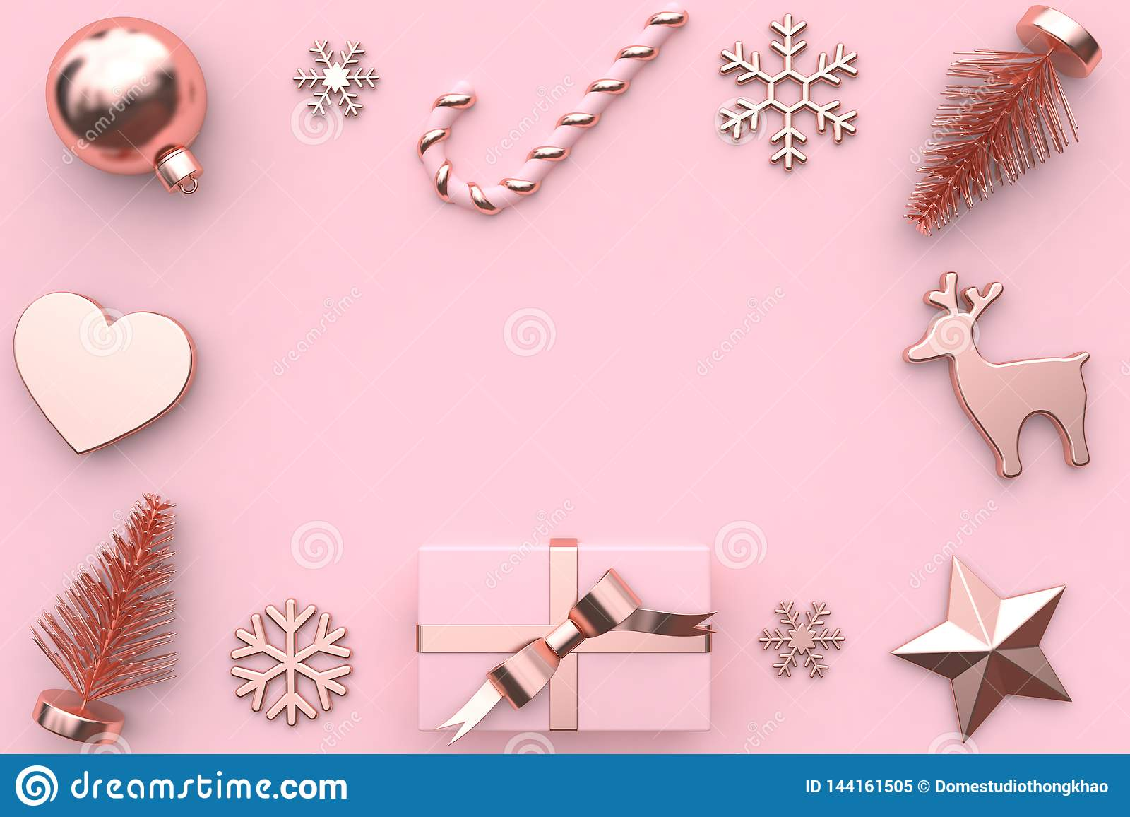 τρισδιάστατος δώστε την αφηρημένη ρόδινη μεταλλική στιλπνός-ροδαλή χρυσή διακόσμηση δέντρων χιονιού κιβωτίων δώρων κορδελλών