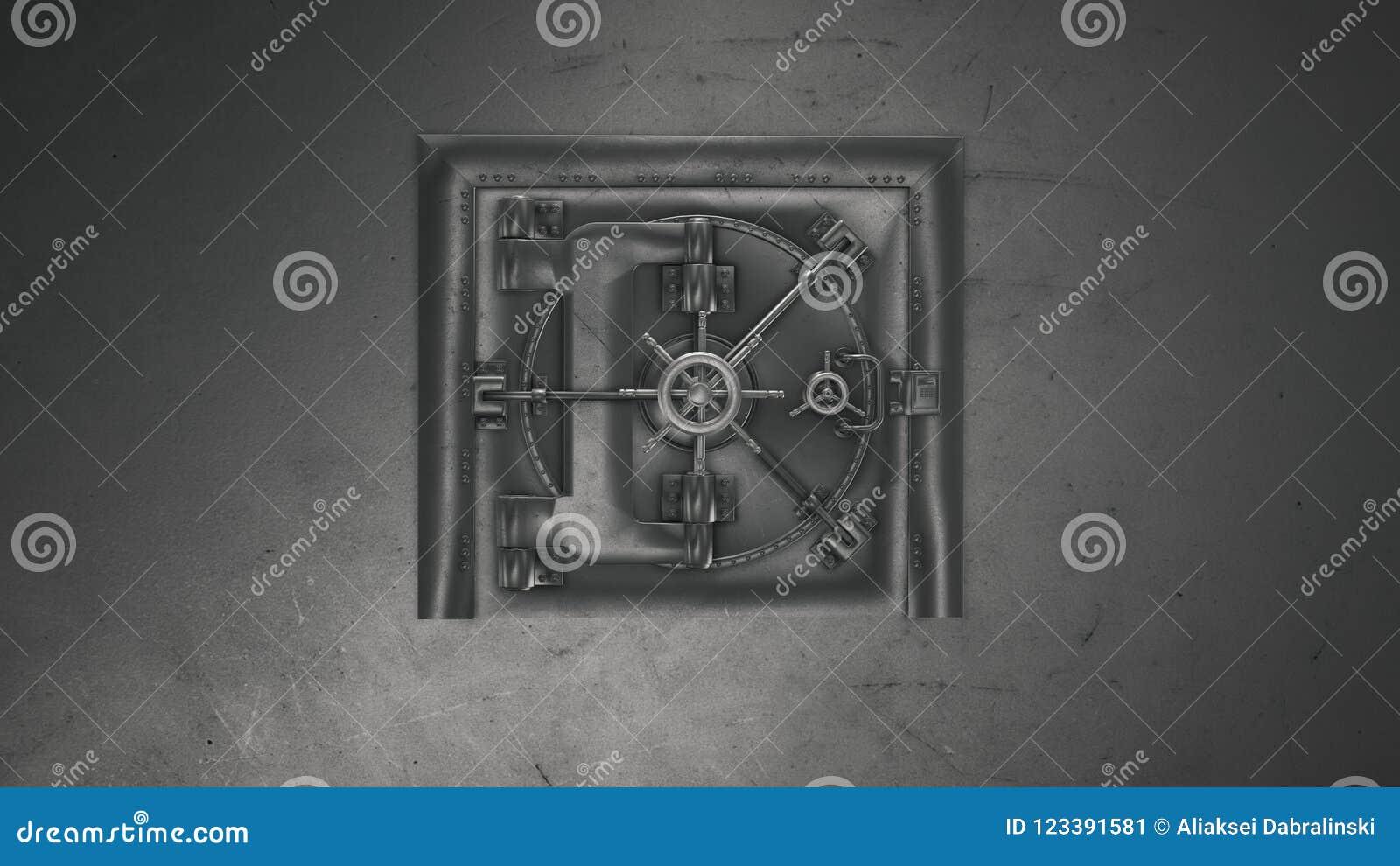 τρισδιάστατος δώστε τον υπόγειο θάλαμο τράπεζας και το χρηματοκιβώτιο ανοίγματος